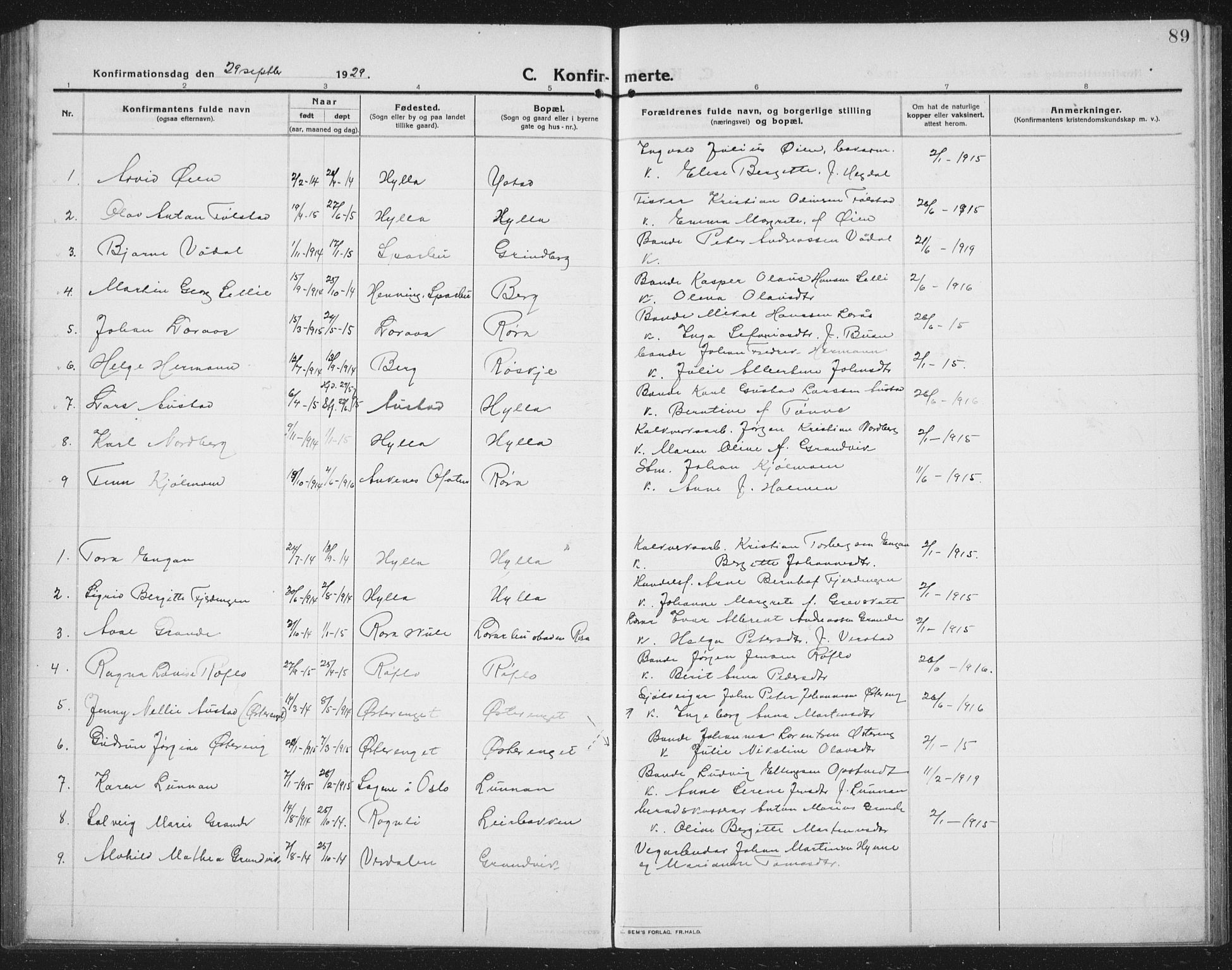 SAT, Ministerialprotokoller, klokkerbøker og fødselsregistre - Nord-Trøndelag, 731/L0312: Klokkerbok nr. 731C03, 1911-1935, s. 89