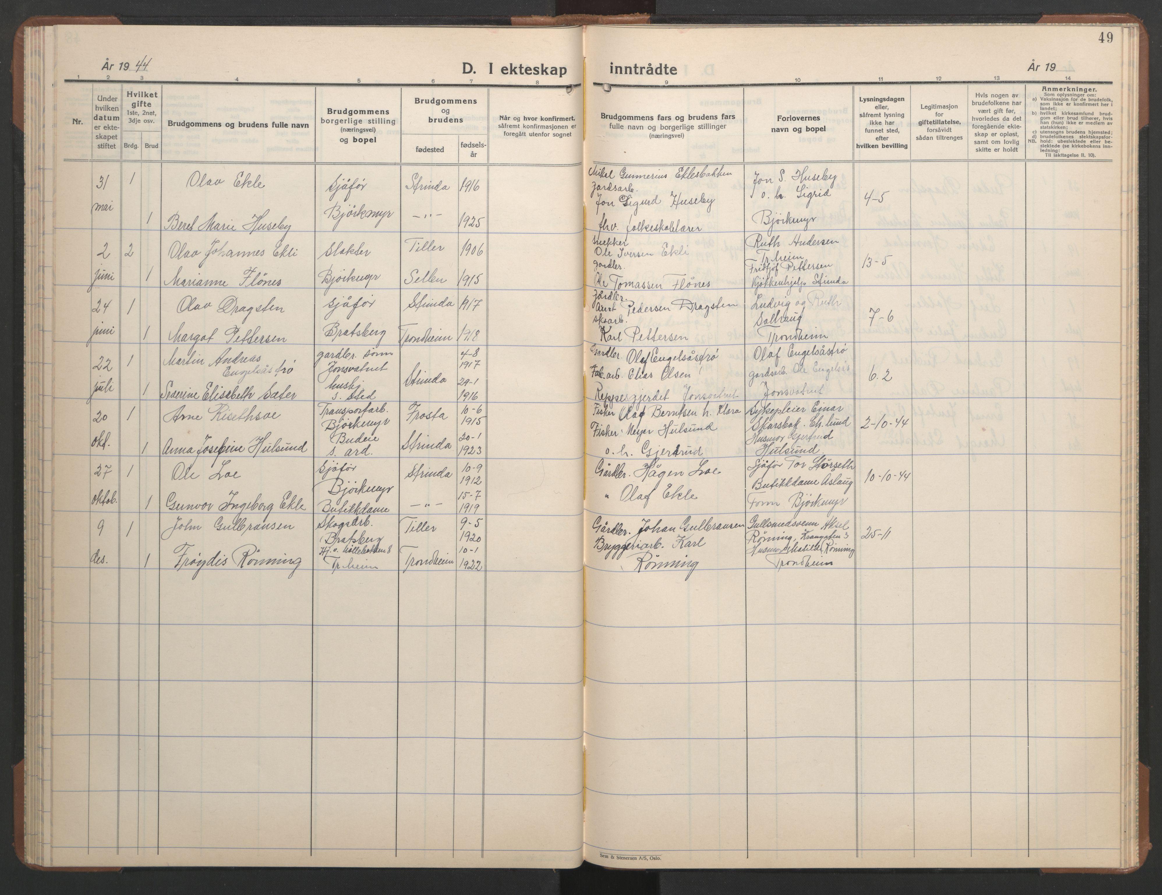 SAT, Ministerialprotokoller, klokkerbøker og fødselsregistre - Sør-Trøndelag, 608/L0343: Klokkerbok nr. 608C09, 1938-1952, s. 49