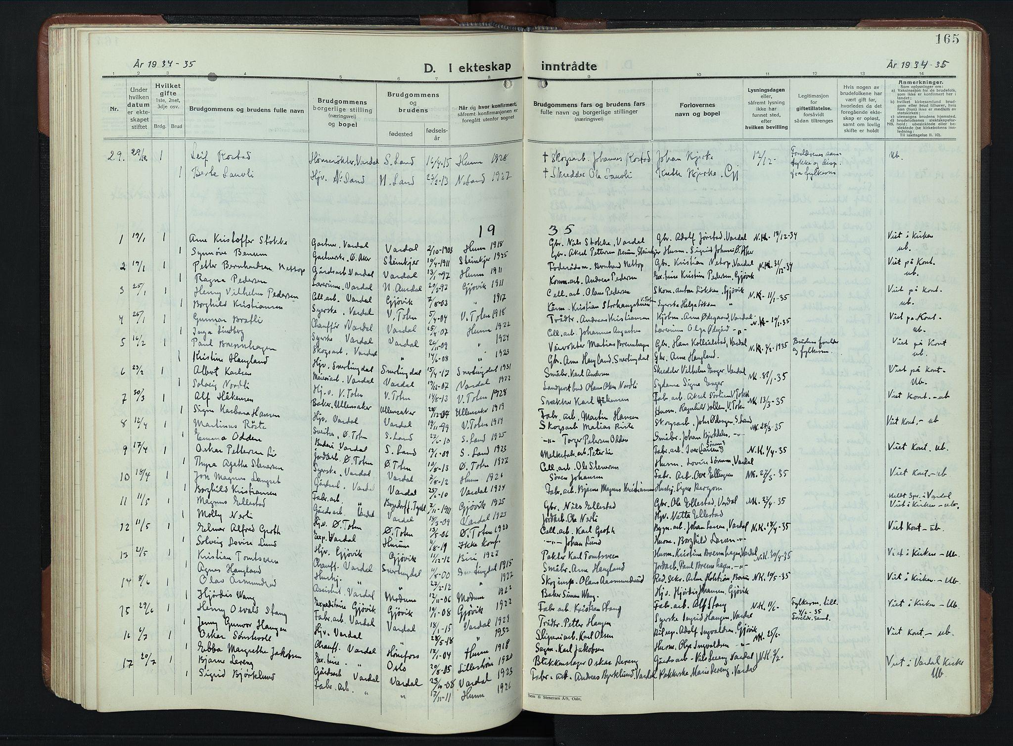 SAH, Vardal prestekontor, H/Ha/Hab/L0023: Klokkerbok nr. 23, 1929-1941, s. 165