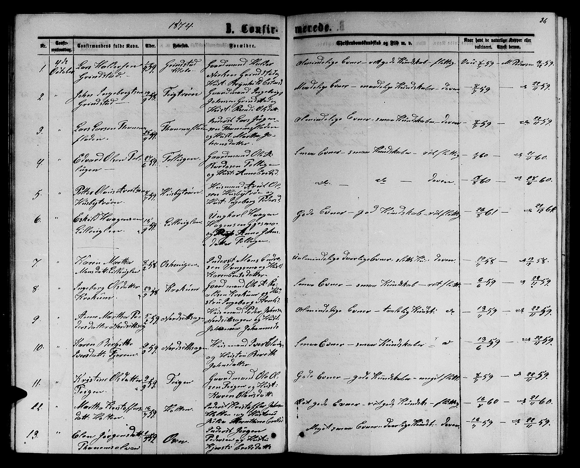 SAT, Ministerialprotokoller, klokkerbøker og fødselsregistre - Sør-Trøndelag, 618/L0451: Klokkerbok nr. 618C02, 1865-1883, s. 86