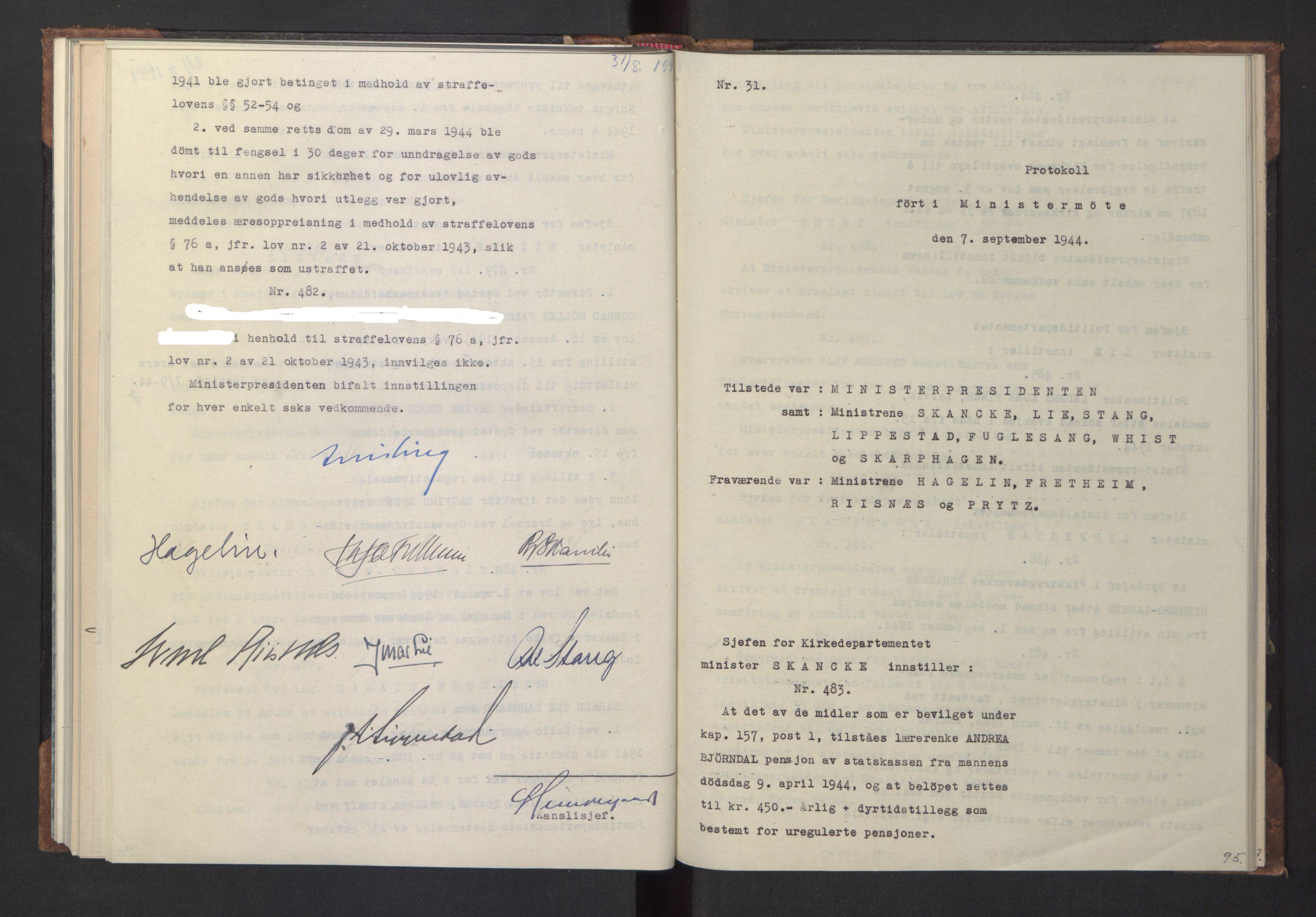 RA, NS-administrasjonen 1940-1945 (Statsrådsekretariatet, de kommisariske statsråder mm), D/Da/L0005: Protokoll fra ministermøter, 1944, s. 94b-95a