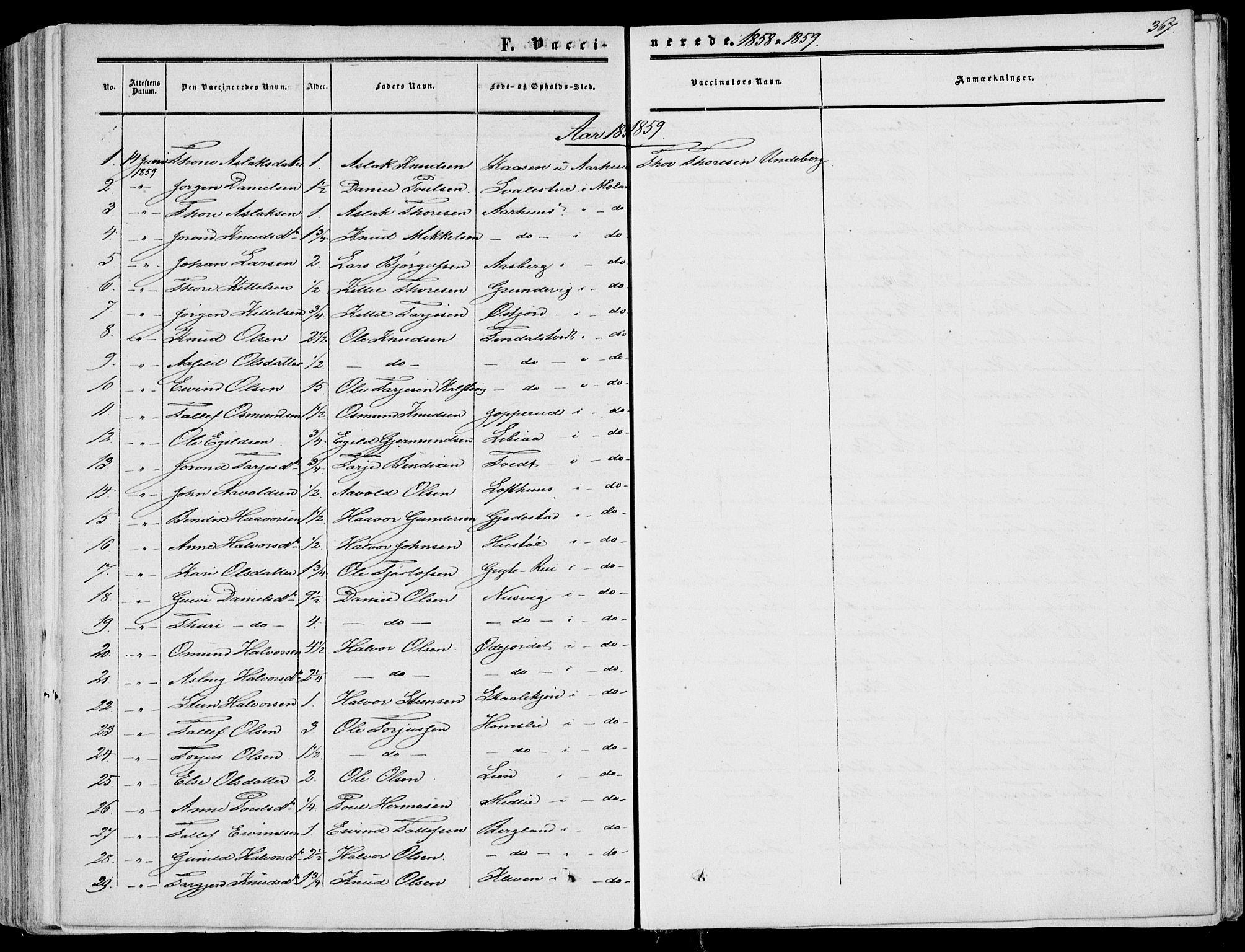 SAKO, Fyresdal kirkebøker, F/Fa/L0005: Ministerialbok nr. I 5, 1855-1871, s. 367