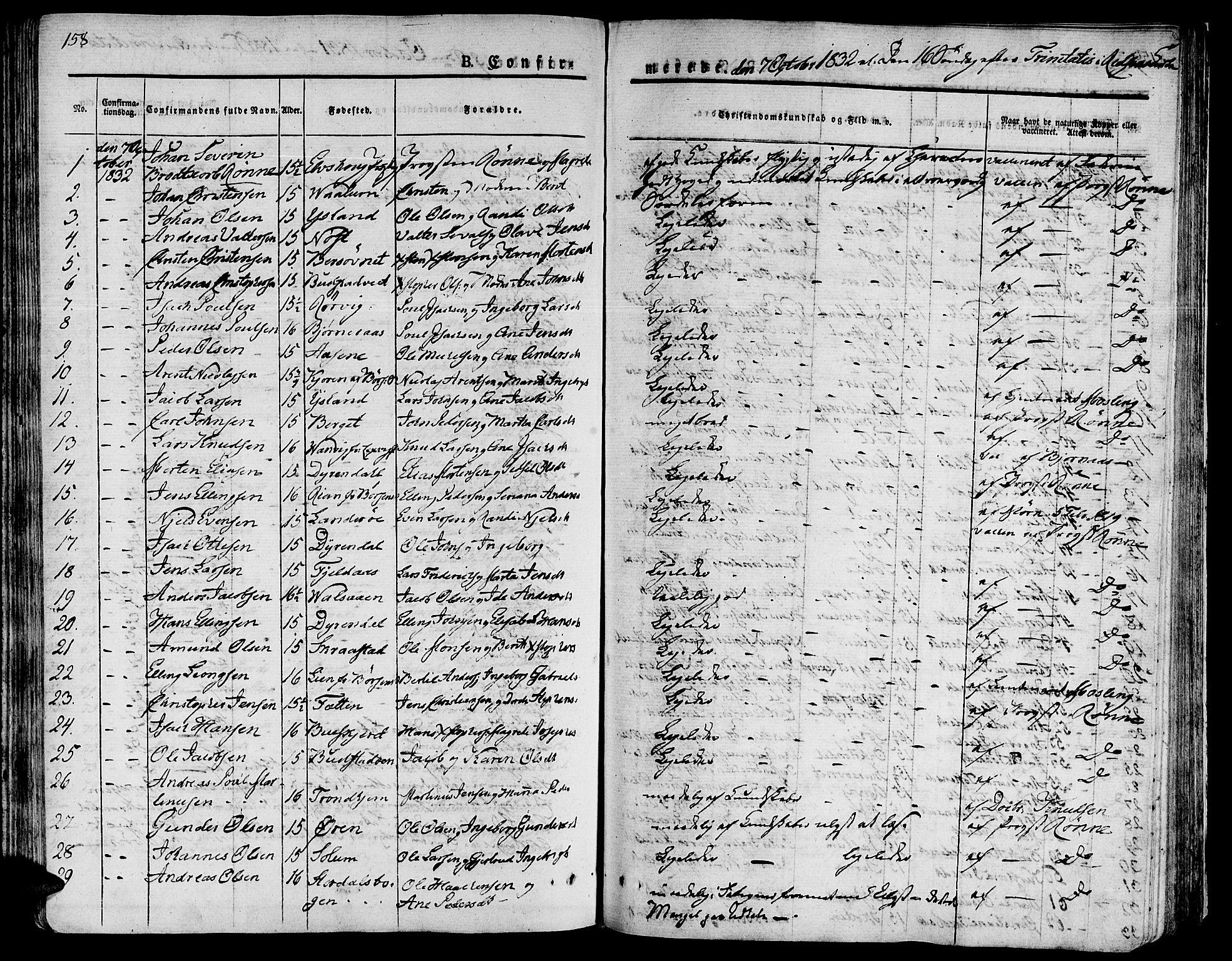 SAT, Ministerialprotokoller, klokkerbøker og fødselsregistre - Sør-Trøndelag, 646/L0609: Ministerialbok nr. 646A07, 1826-1838, s. 158