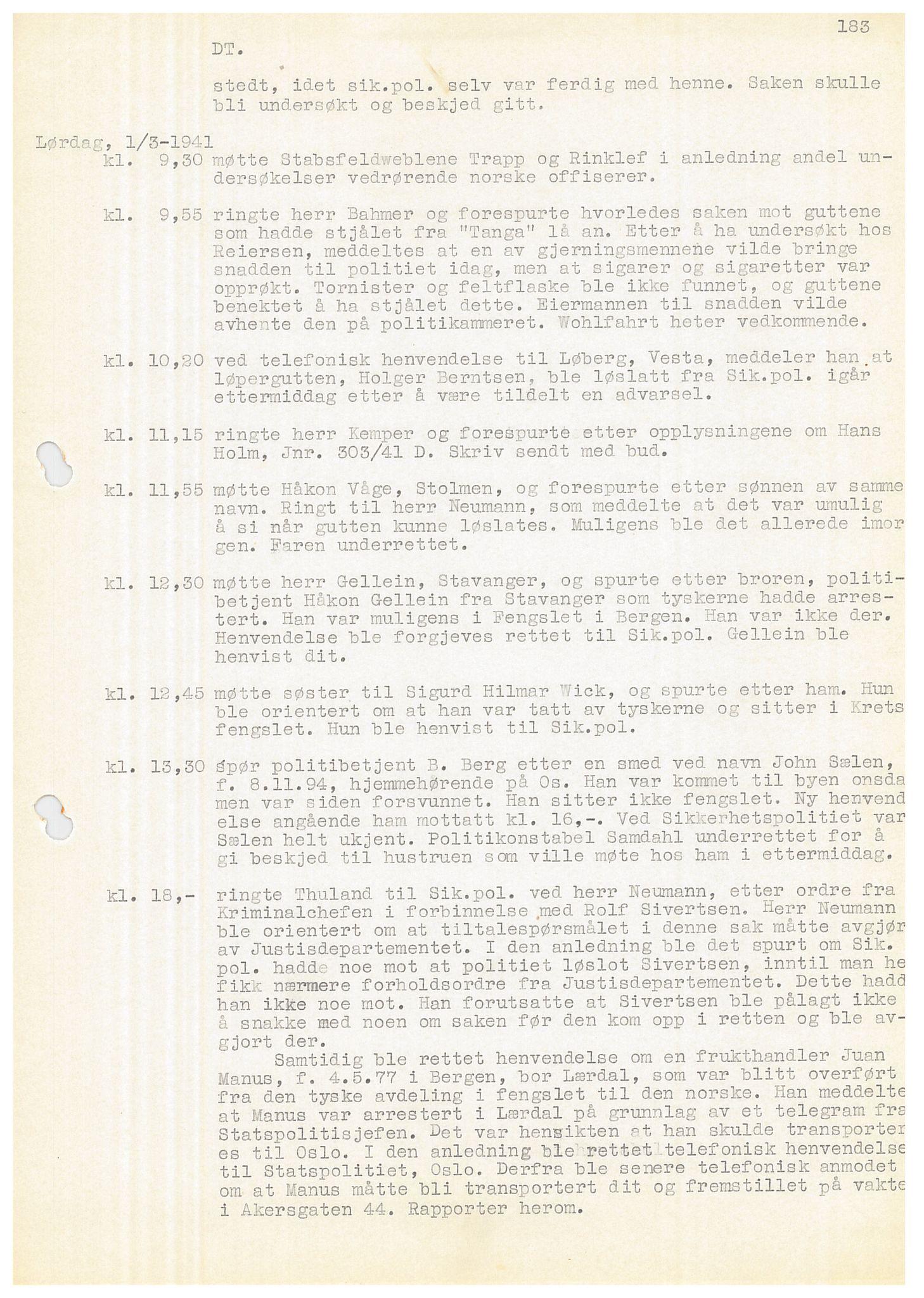 SAB, Bergen politidistrikt, Y/Ye/L0001: Avskrift av krigsdagbok av Dankert Thuland, 1940-1941, s. 183