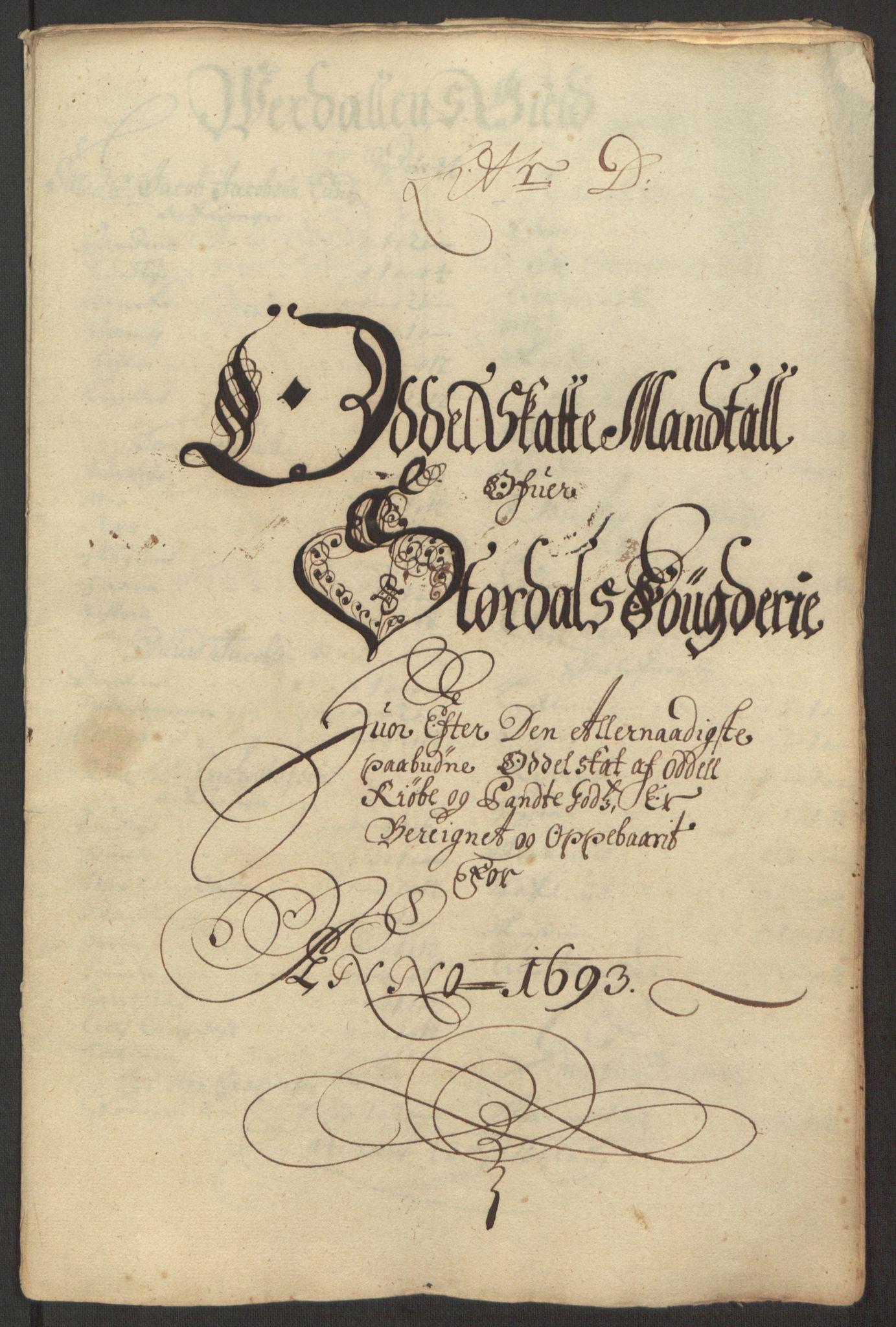 RA, Rentekammeret inntil 1814, Reviderte regnskaper, Fogderegnskap, R62/L4186: Fogderegnskap Stjørdal og Verdal, 1693-1694, s. 37