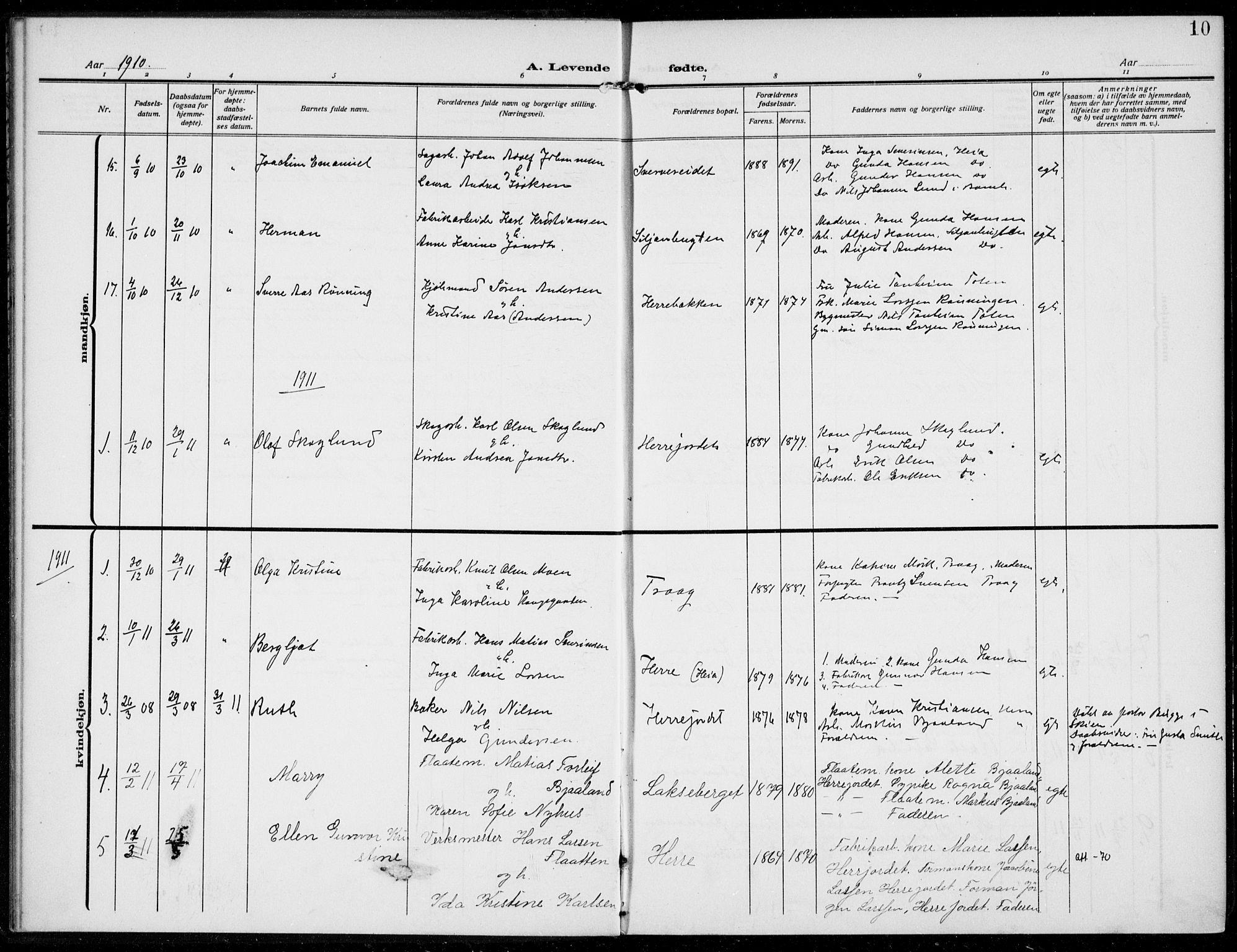 SAKO, Bamble kirkebøker, F/Fc/L0001: Ministerialbok nr. III 1, 1909-1916, s. 10