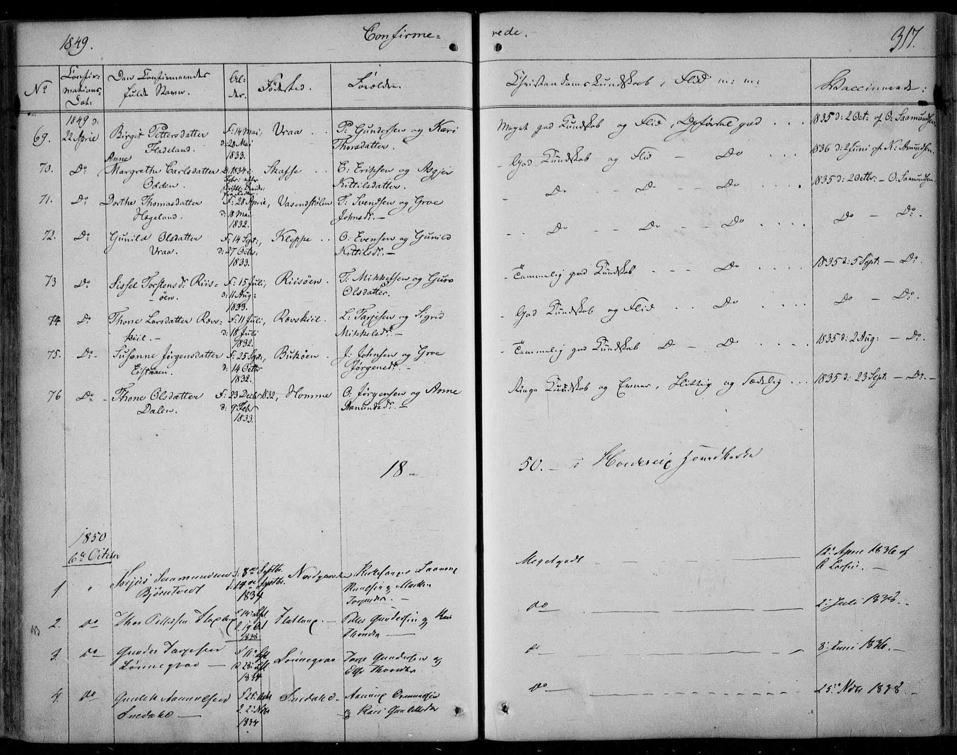 SAKO, Kviteseid kirkebøker, F/Fa/L0006: Ministerialbok nr. I 6, 1836-1858, s. 317