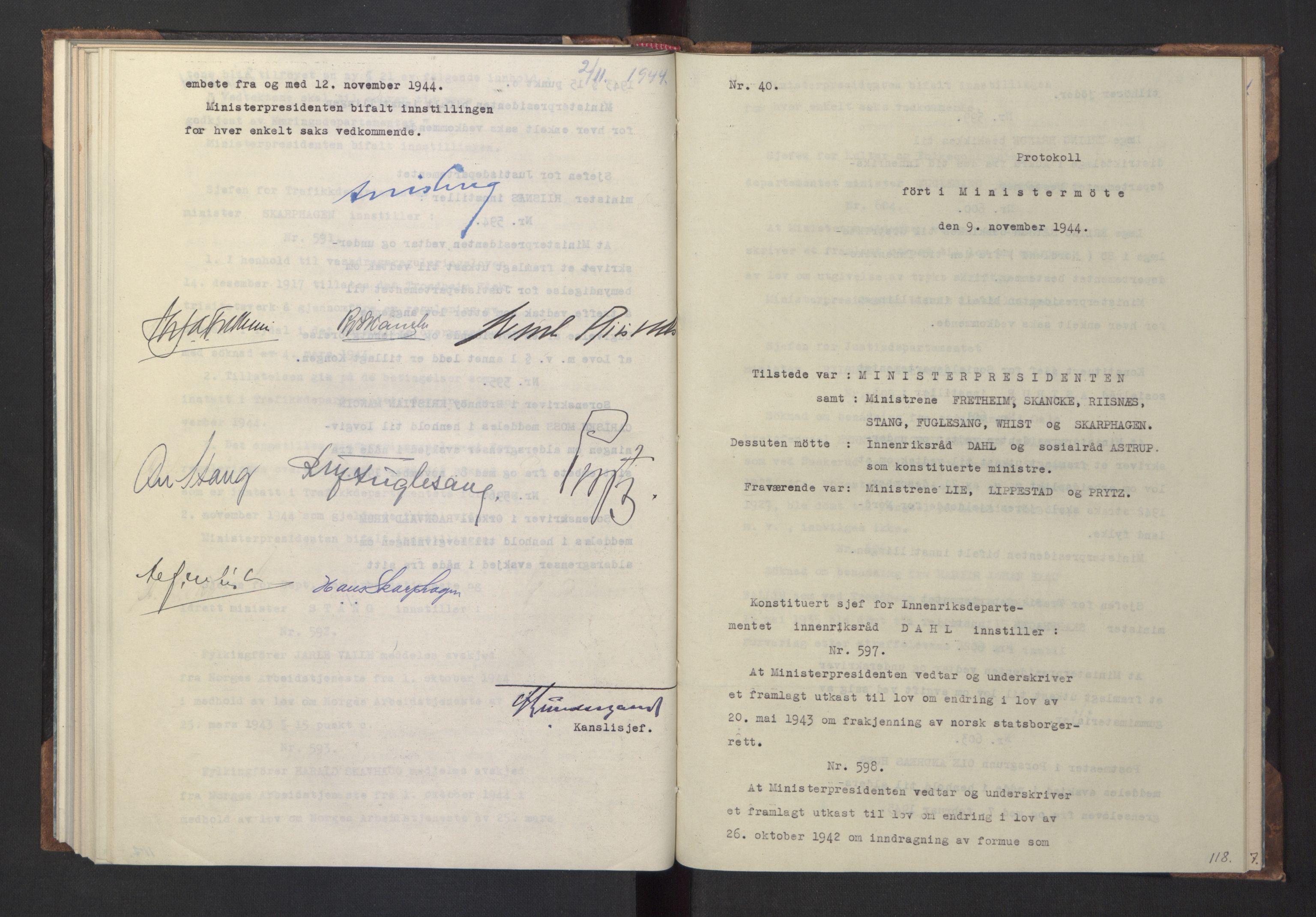 RA, NS-administrasjonen 1940-1945 (Statsrådsekretariatet, de kommisariske statsråder mm), D/Da/L0005: Protokoll fra ministermøter, 1944, s. 117b-118a