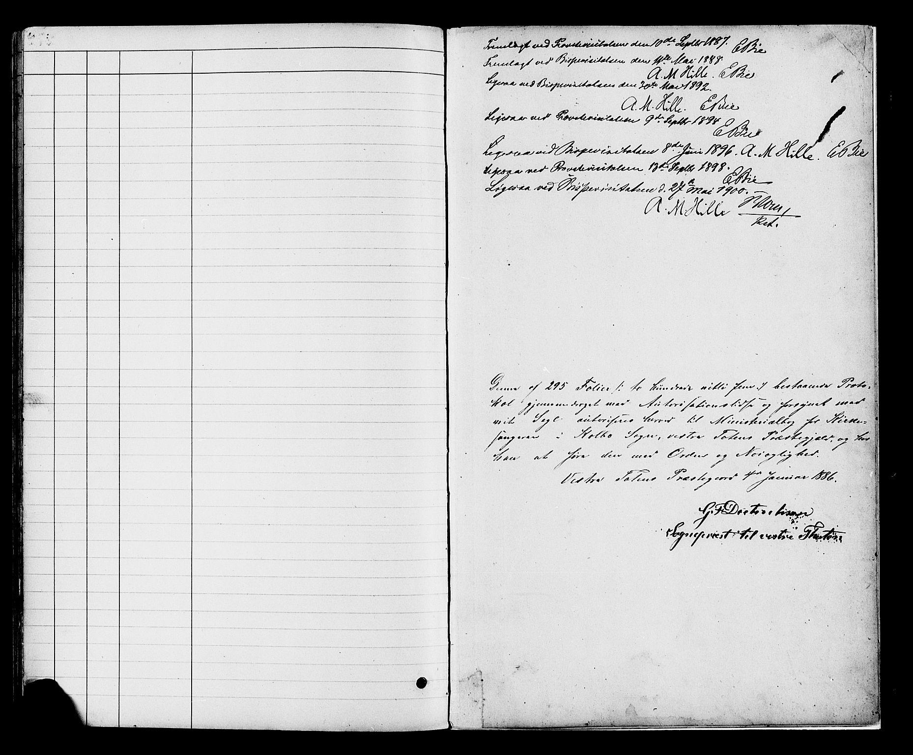 SAH, Vestre Toten prestekontor, H/Ha/Hab/L0008: Klokkerbok nr. 8, 1885-1900