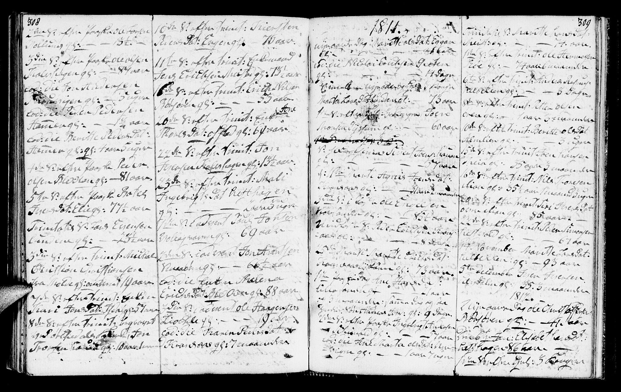 SAT, Ministerialprotokoller, klokkerbøker og fødselsregistre - Sør-Trøndelag, 665/L0769: Ministerialbok nr. 665A04, 1803-1816, s. 308-309