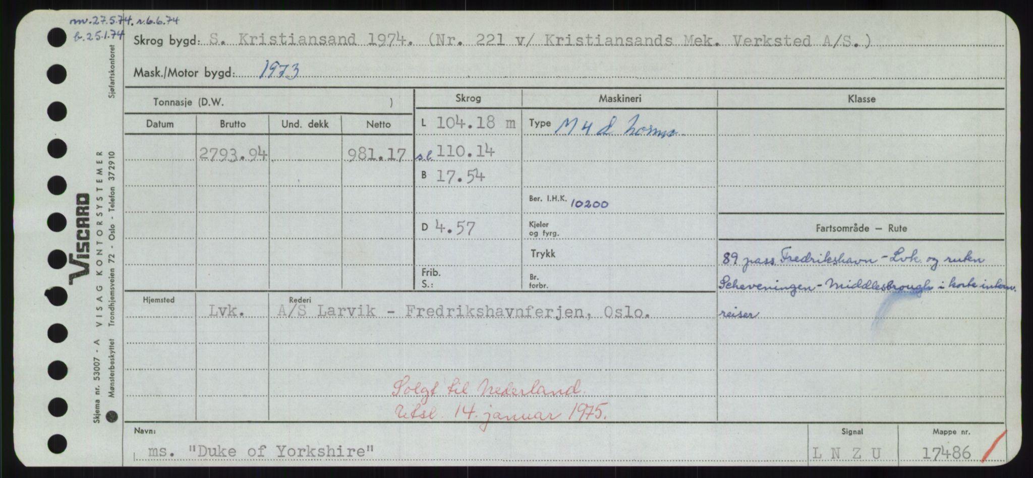RA, Sjøfartsdirektoratet med forløpere, Skipsmålingen, H/Hd/L0008: Fartøy, C-D, s. 693