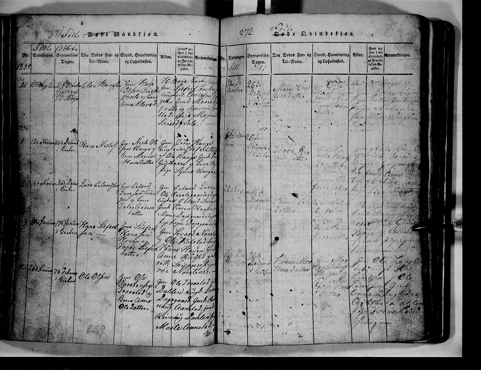 SAH, Lom prestekontor, L/L0003: Klokkerbok nr. 3, 1815-1844, s. 371-372