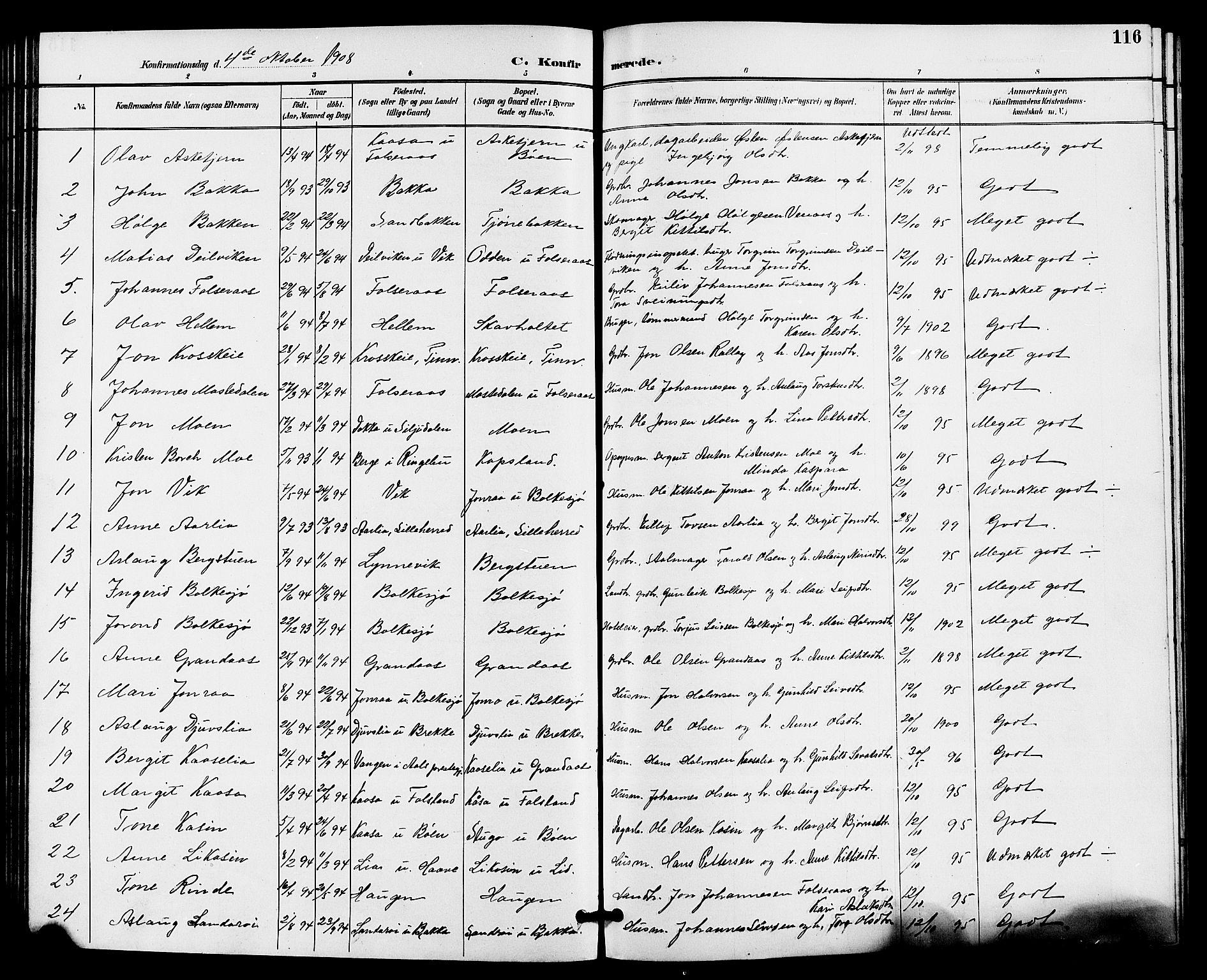 SAKO, Gransherad kirkebøker, G/Ga/L0003: Klokkerbok nr. I 3, 1887-1915, s. 116