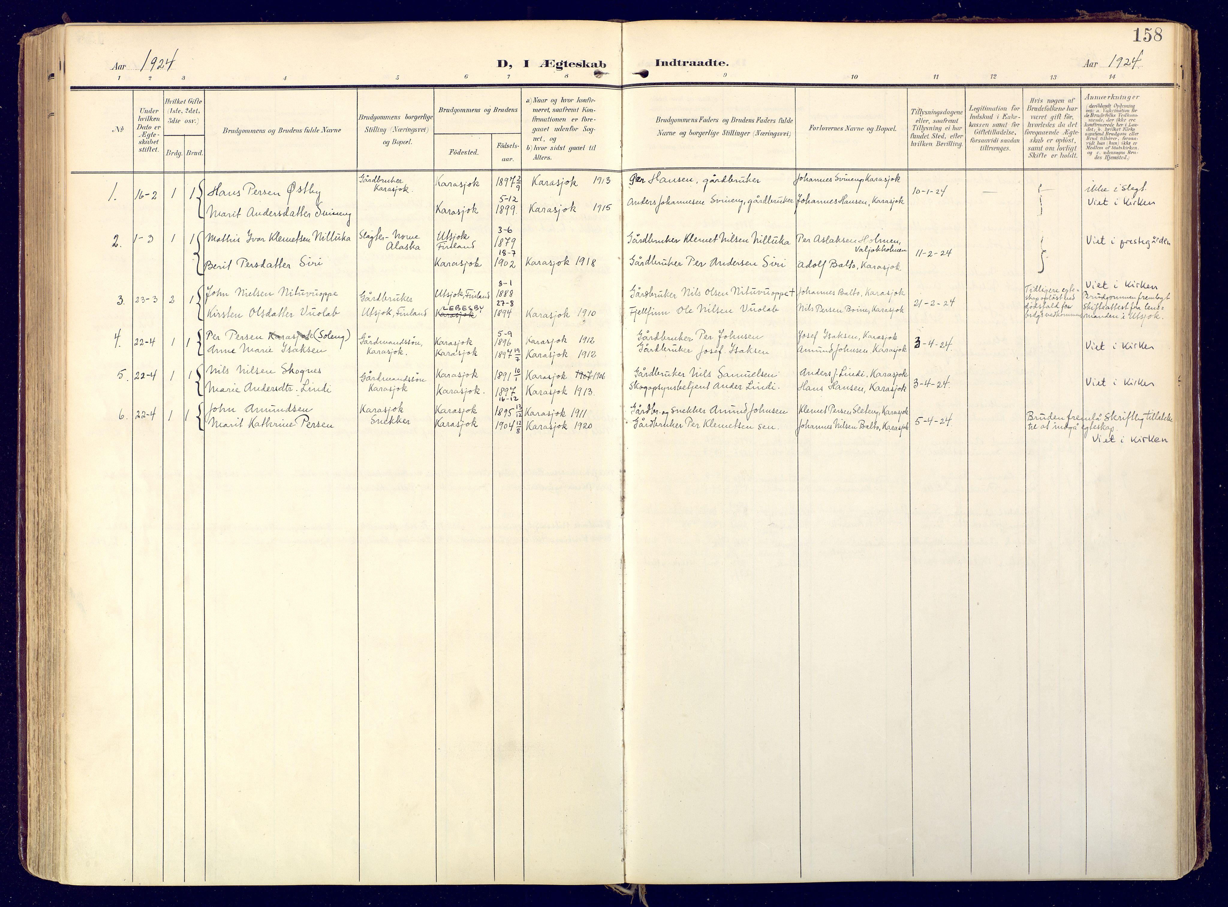 SATØ, Karasjok sokneprestkontor, H/Ha: Ministerialbok nr. 3, 1907-1926, s. 158
