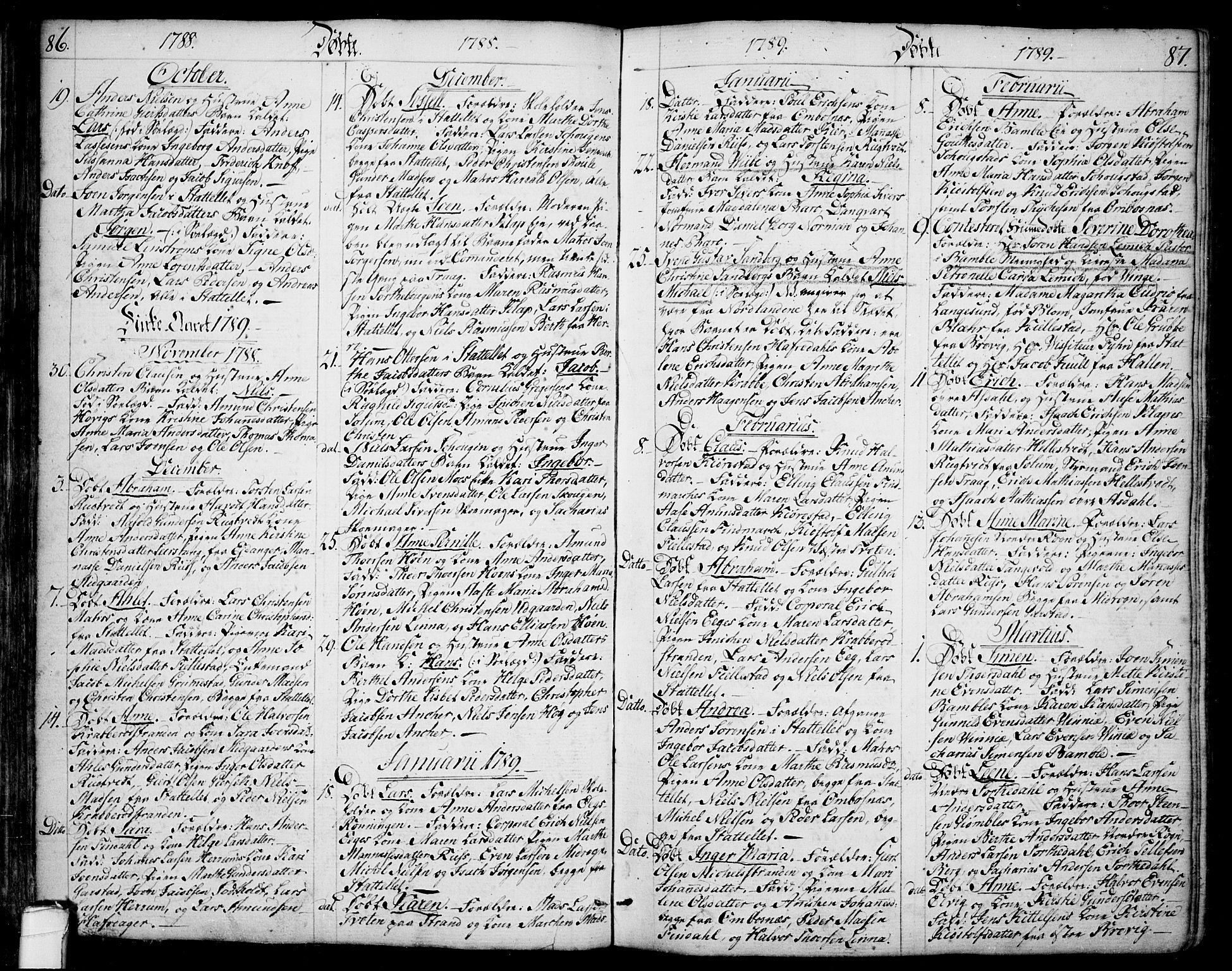 SAKO, Bamble kirkebøker, F/Fa/L0002: Ministerialbok nr. I 2, 1775-1814, s. 86-87