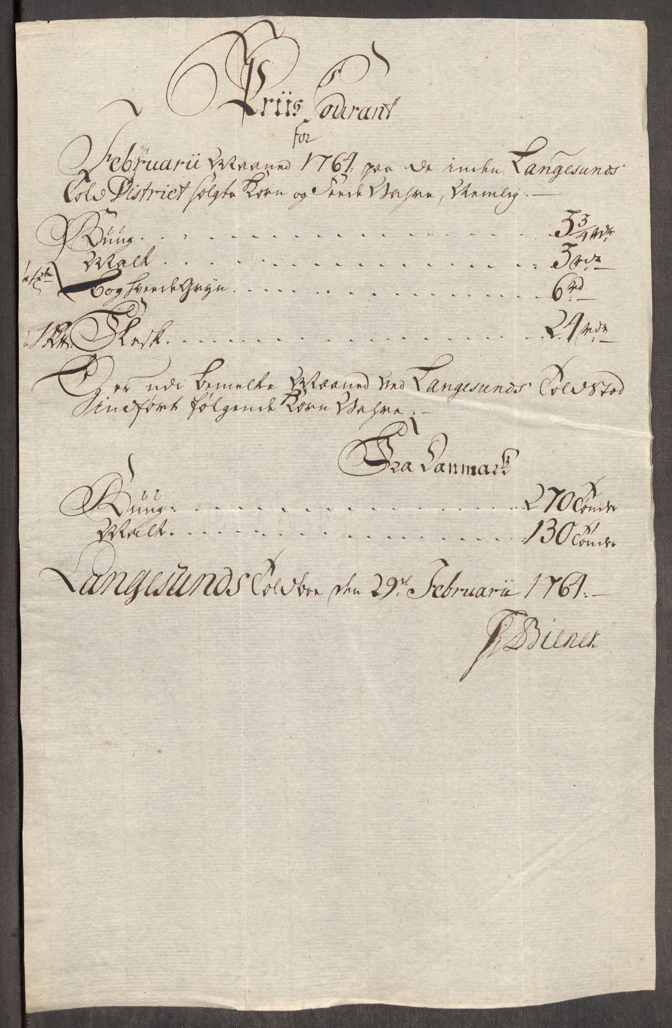 RA, Rentekammeret inntil 1814, Realistisk ordnet avdeling, Oe/L0008: [Ø1]: Priskuranter, 1764-1768, s. 164