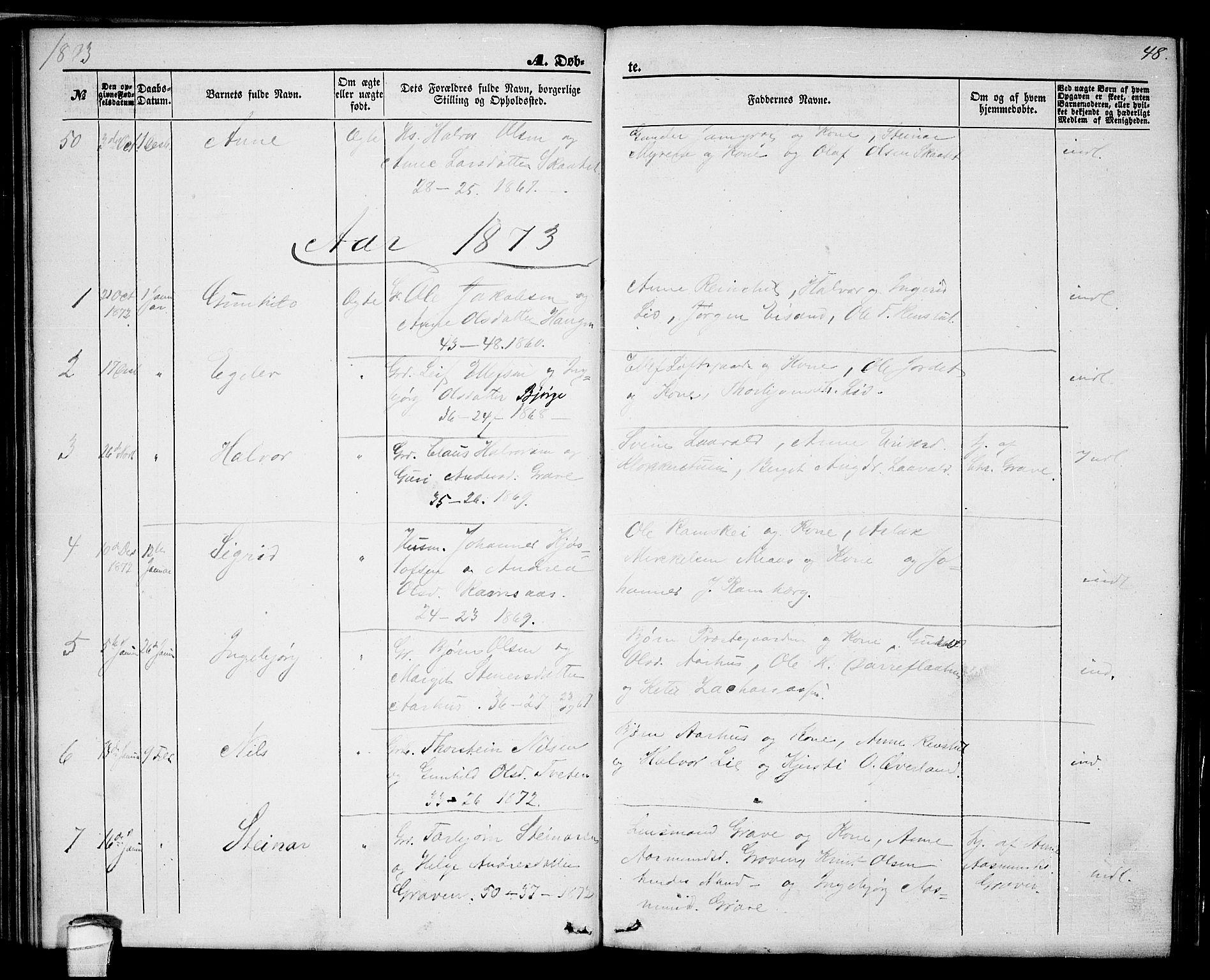 SAKO, Seljord kirkebøker, G/Ga/L0003: Klokkerbok nr. I 3, 1866-1873, s. 48