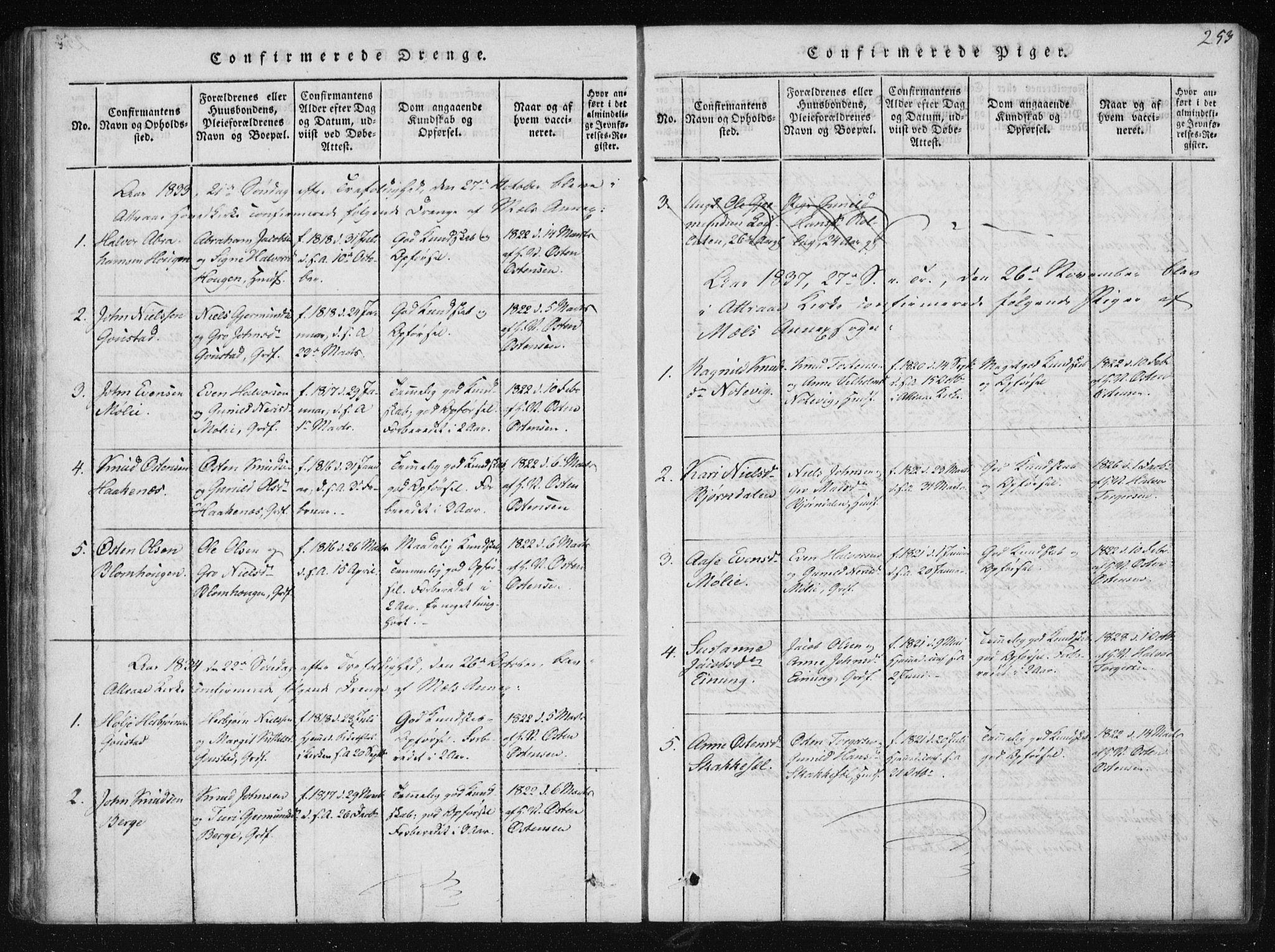 SAKO, Tinn kirkebøker, F/Fb/L0001: Ministerialbok nr. II 1, 1815-1843, s. 253