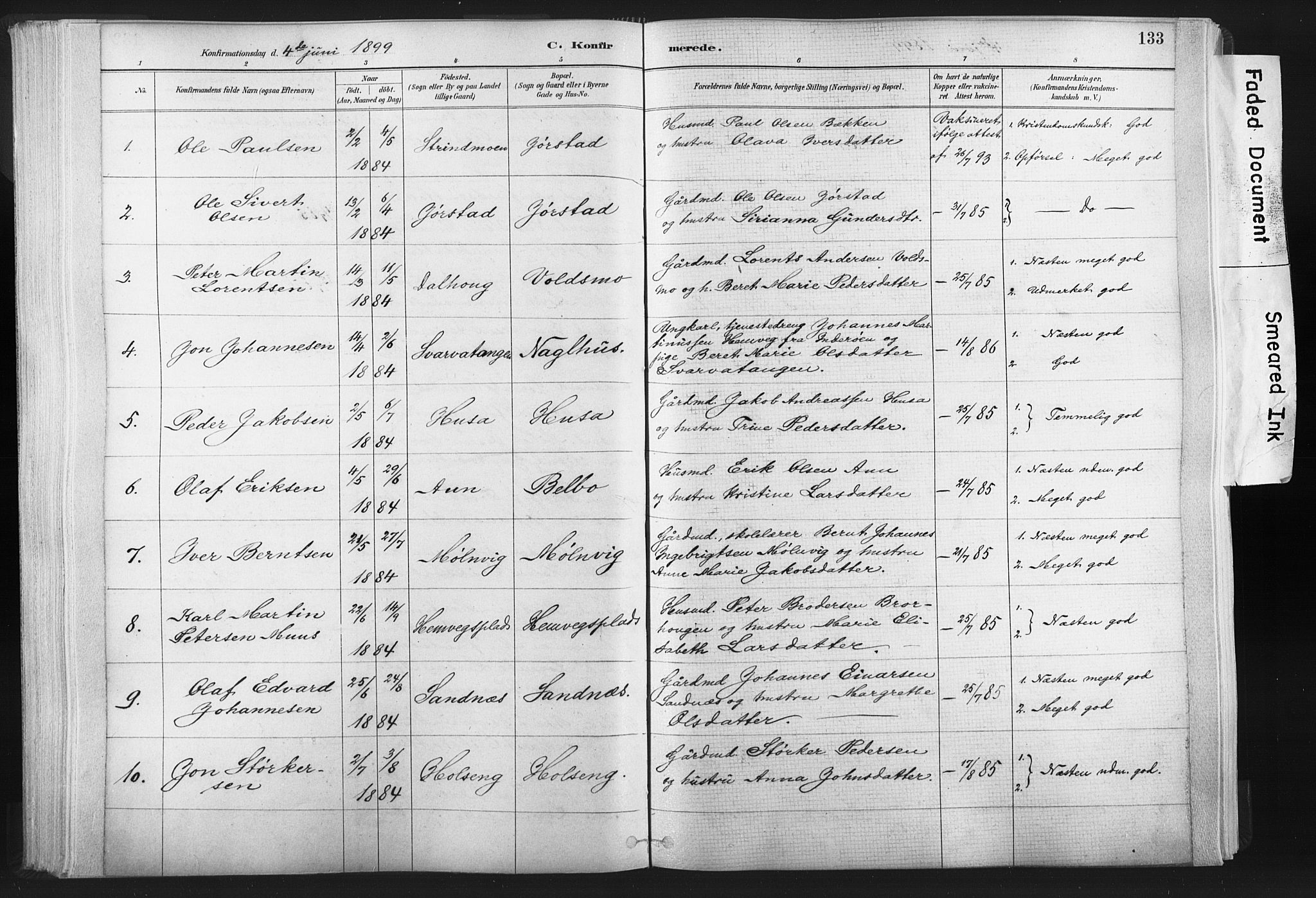 SAT, Ministerialprotokoller, klokkerbøker og fødselsregistre - Nord-Trøndelag, 749/L0474: Ministerialbok nr. 749A08, 1887-1903, s. 133