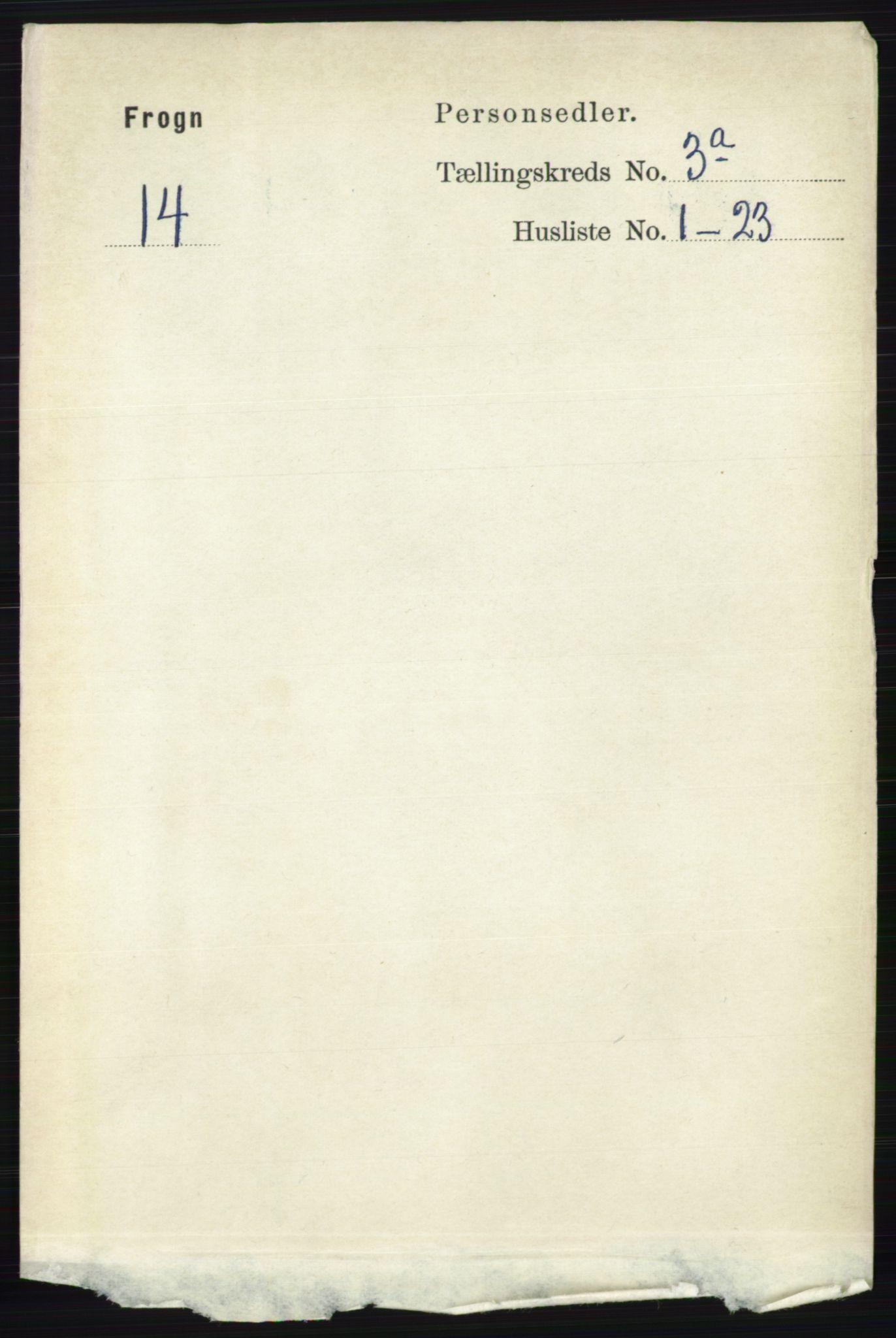 RA, Folketelling 1891 for 0215 Frogn herred, 1891, s. 1910