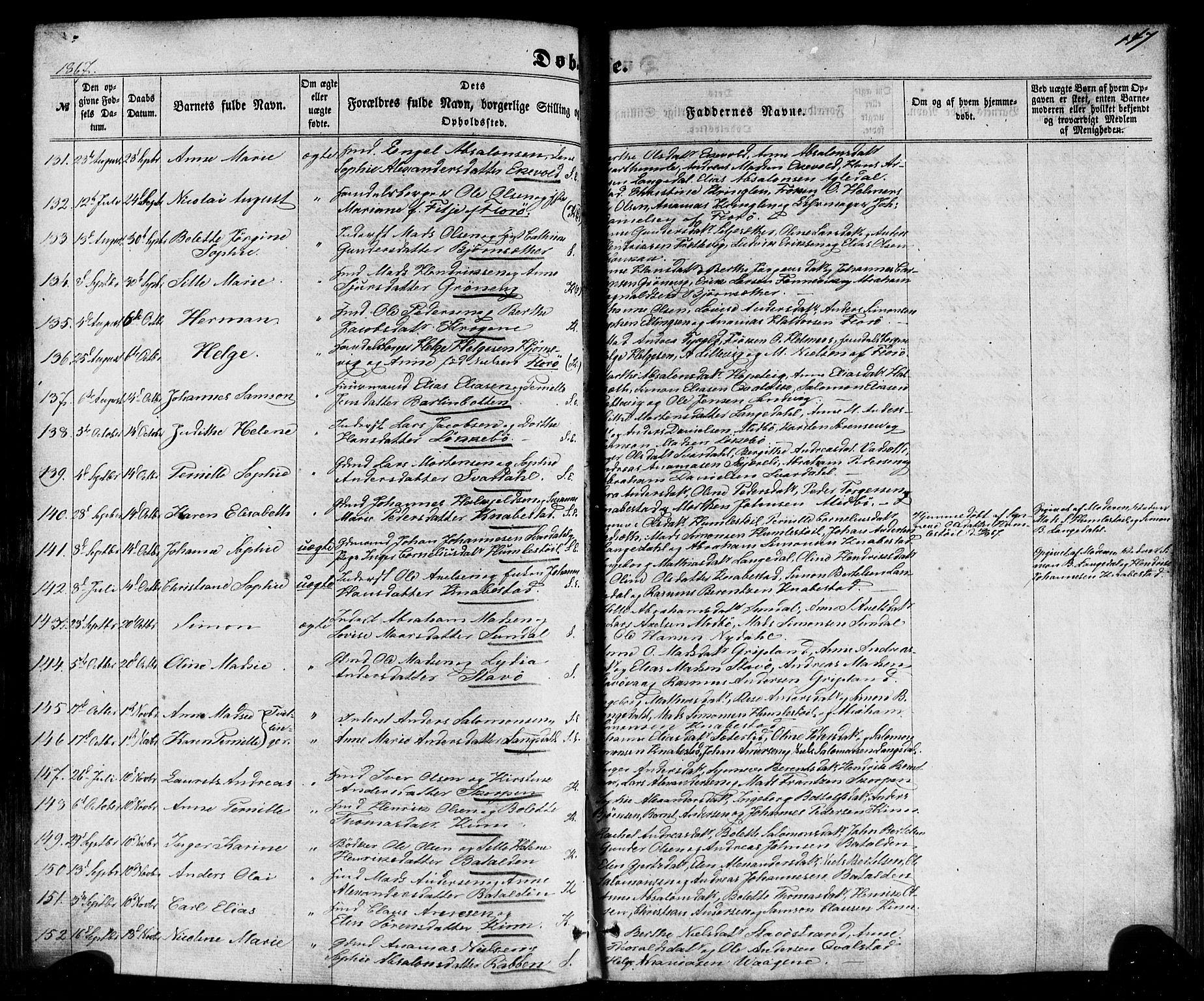 SAB, Kinn Sokneprestembete, Ministerialbok nr. A 6, 1857-1885, s. 147