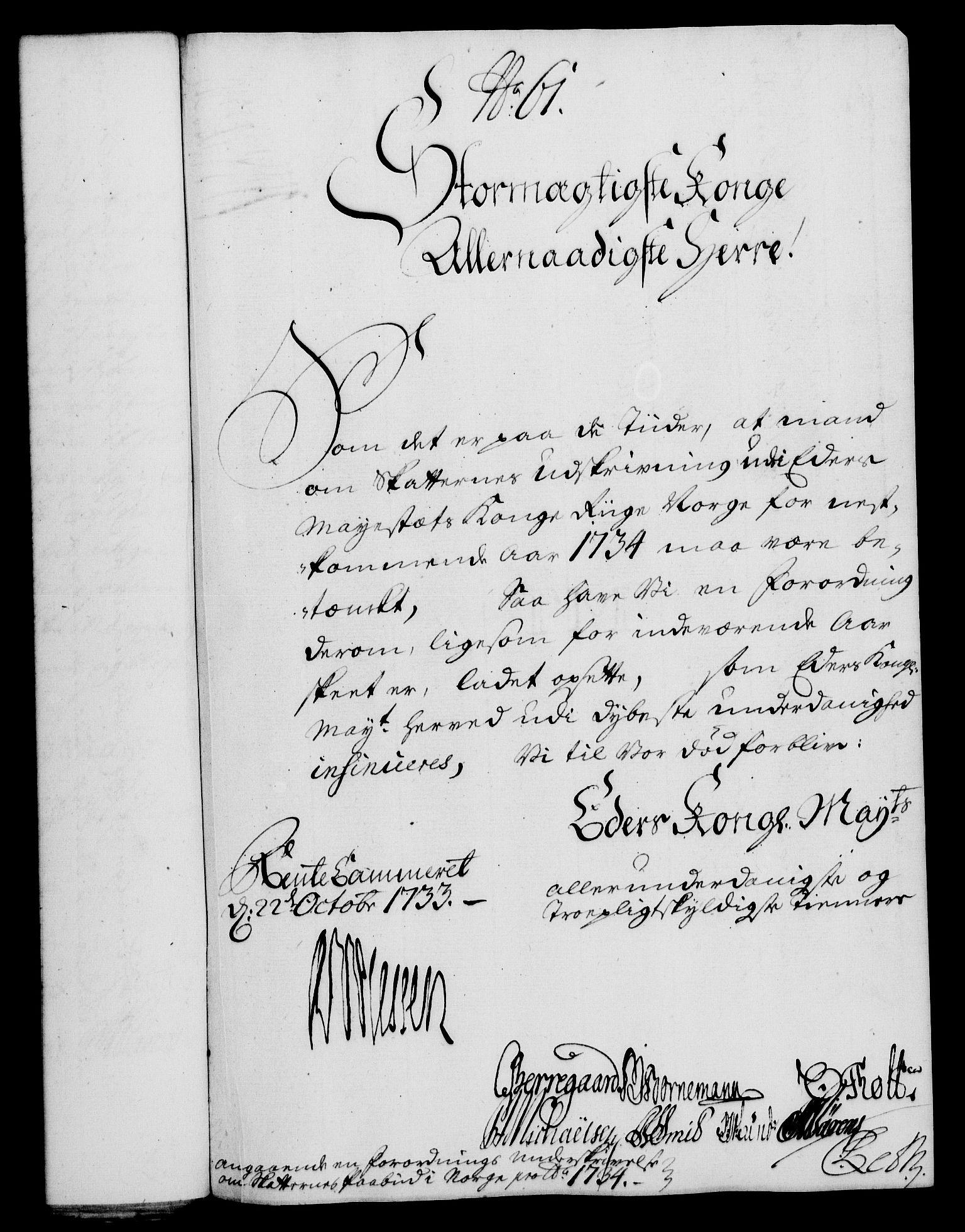 RA, Rentekammeret, Kammerkanselliet, G/Gf/Gfa/L0016: Norsk relasjons- og resolusjonsprotokoll (merket RK 52.16), 1733, s. 354