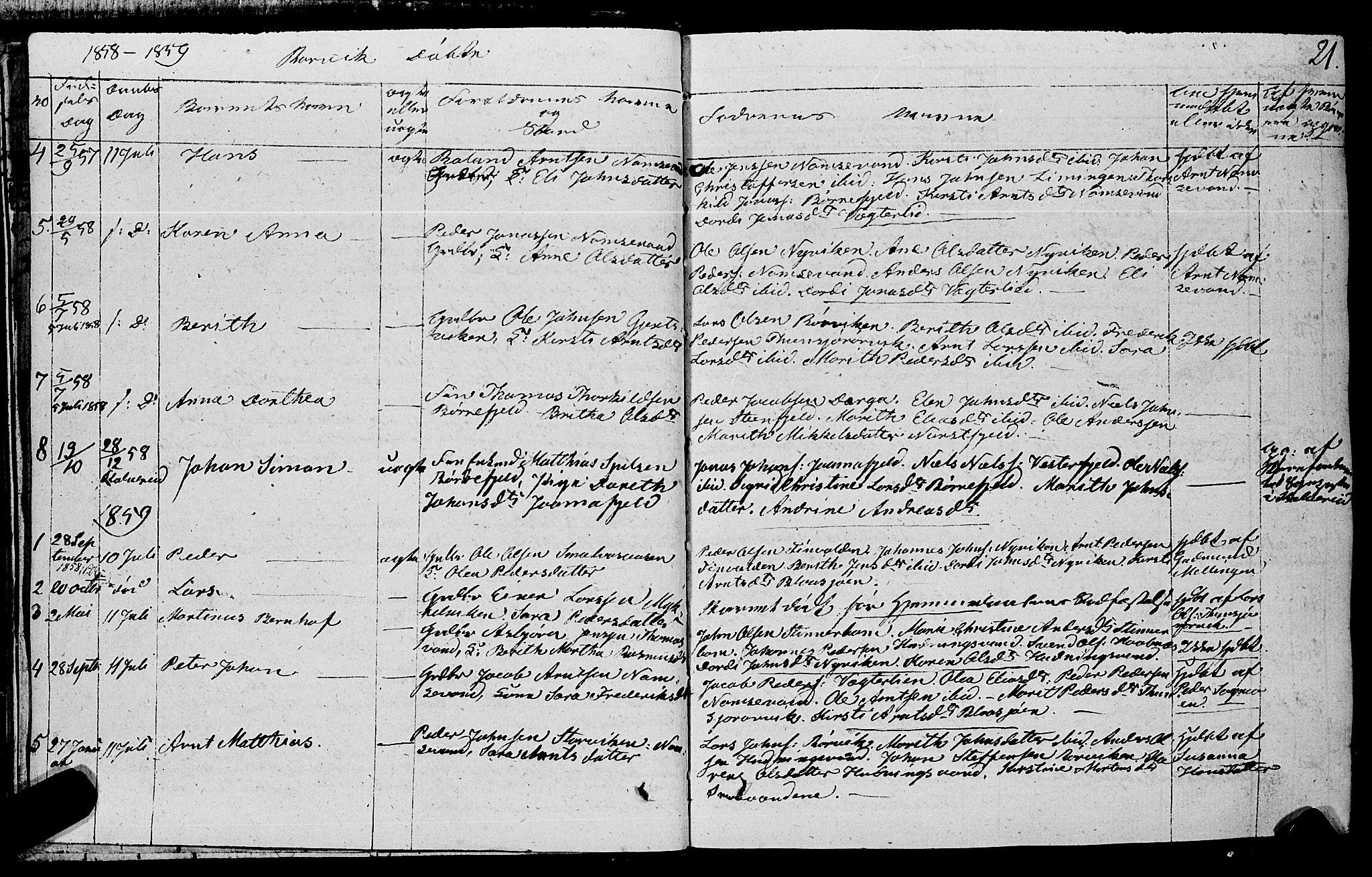 SAT, Ministerialprotokoller, klokkerbøker og fødselsregistre - Nord-Trøndelag, 762/L0538: Ministerialbok nr. 762A02 /1, 1833-1879, s. 21