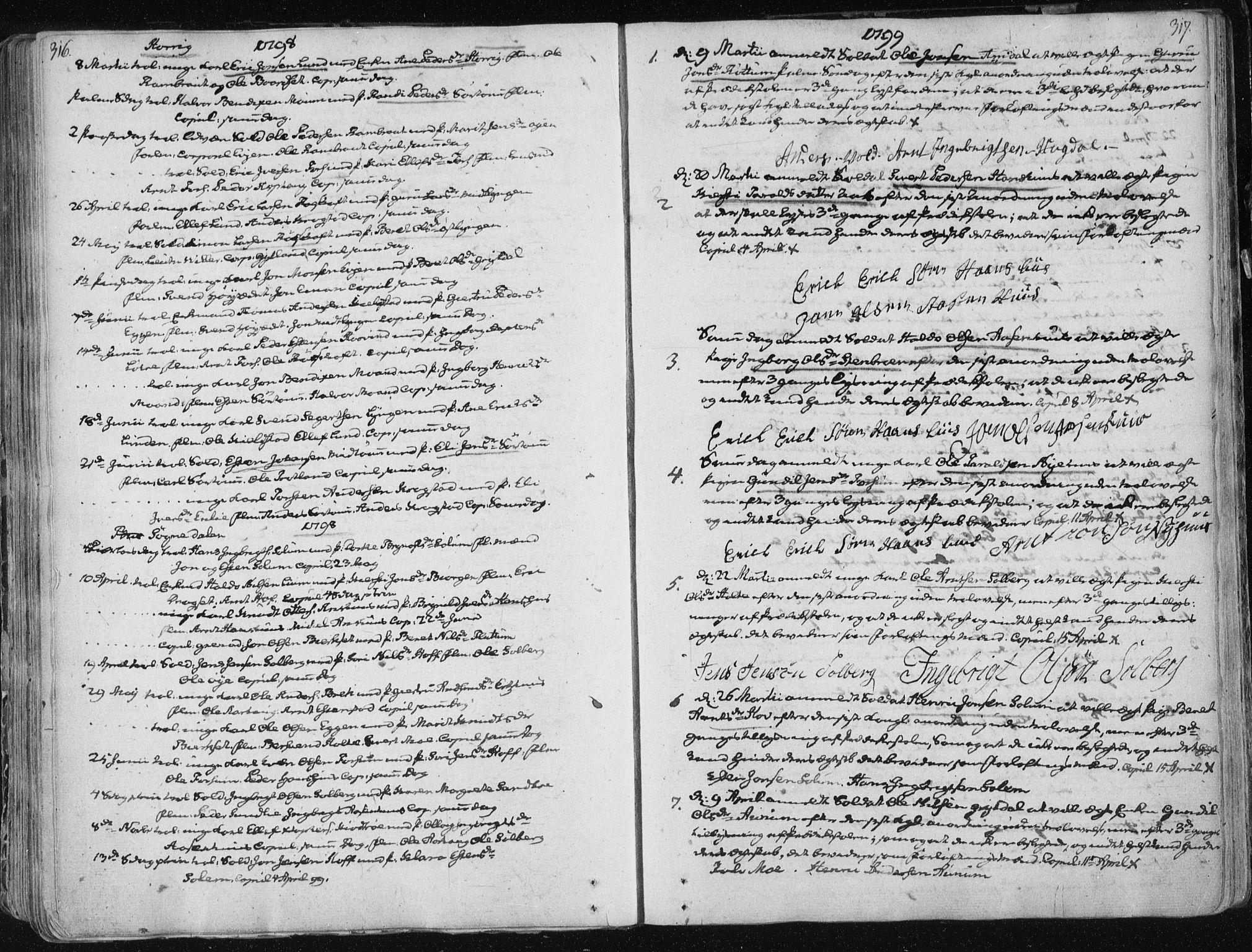 SAT, Ministerialprotokoller, klokkerbøker og fødselsregistre - Sør-Trøndelag, 687/L0992: Ministerialbok nr. 687A03 /1, 1788-1815, s. 316-317