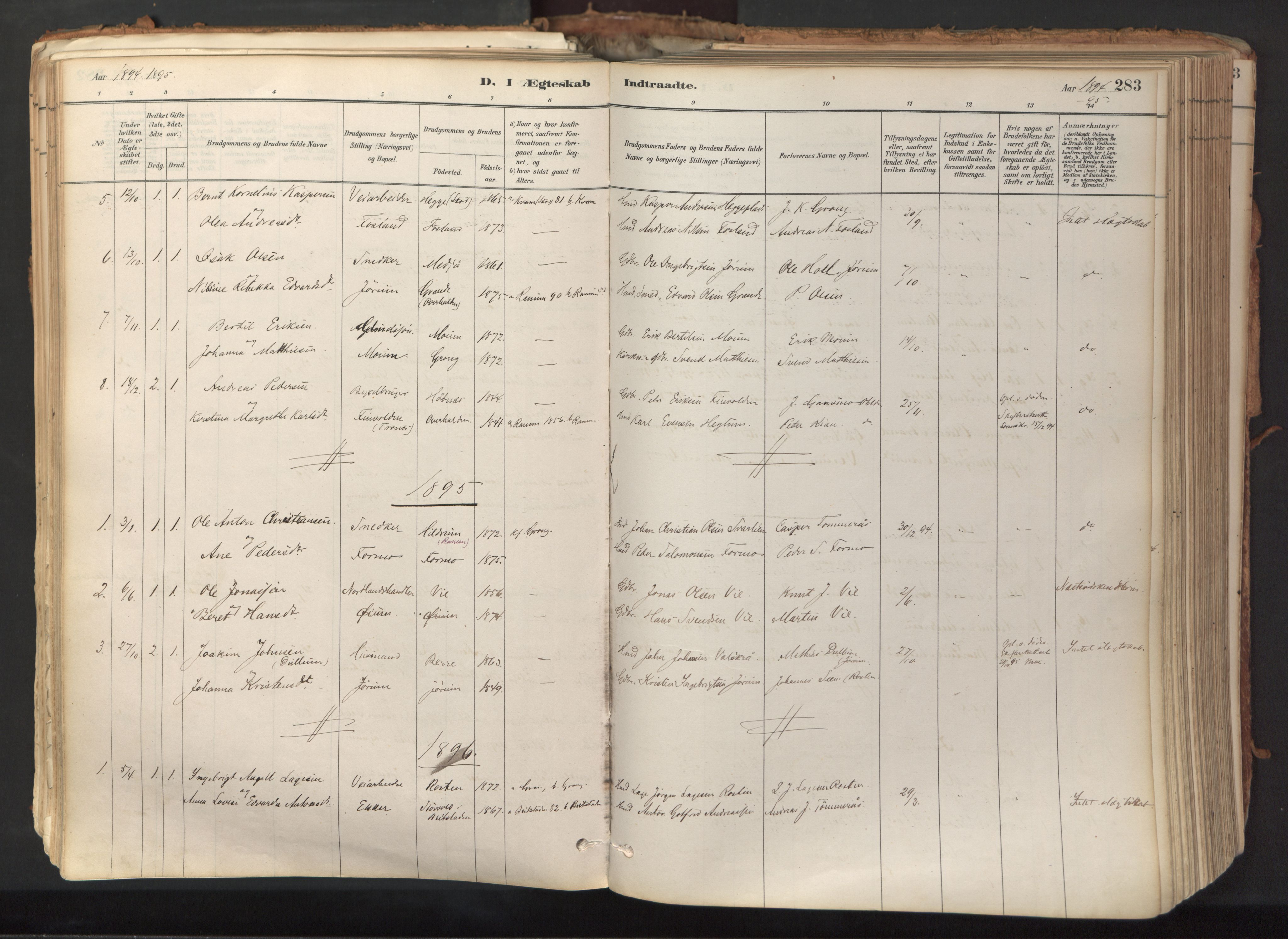 SAT, Ministerialprotokoller, klokkerbøker og fødselsregistre - Nord-Trøndelag, 758/L0519: Ministerialbok nr. 758A04, 1880-1926, s. 283