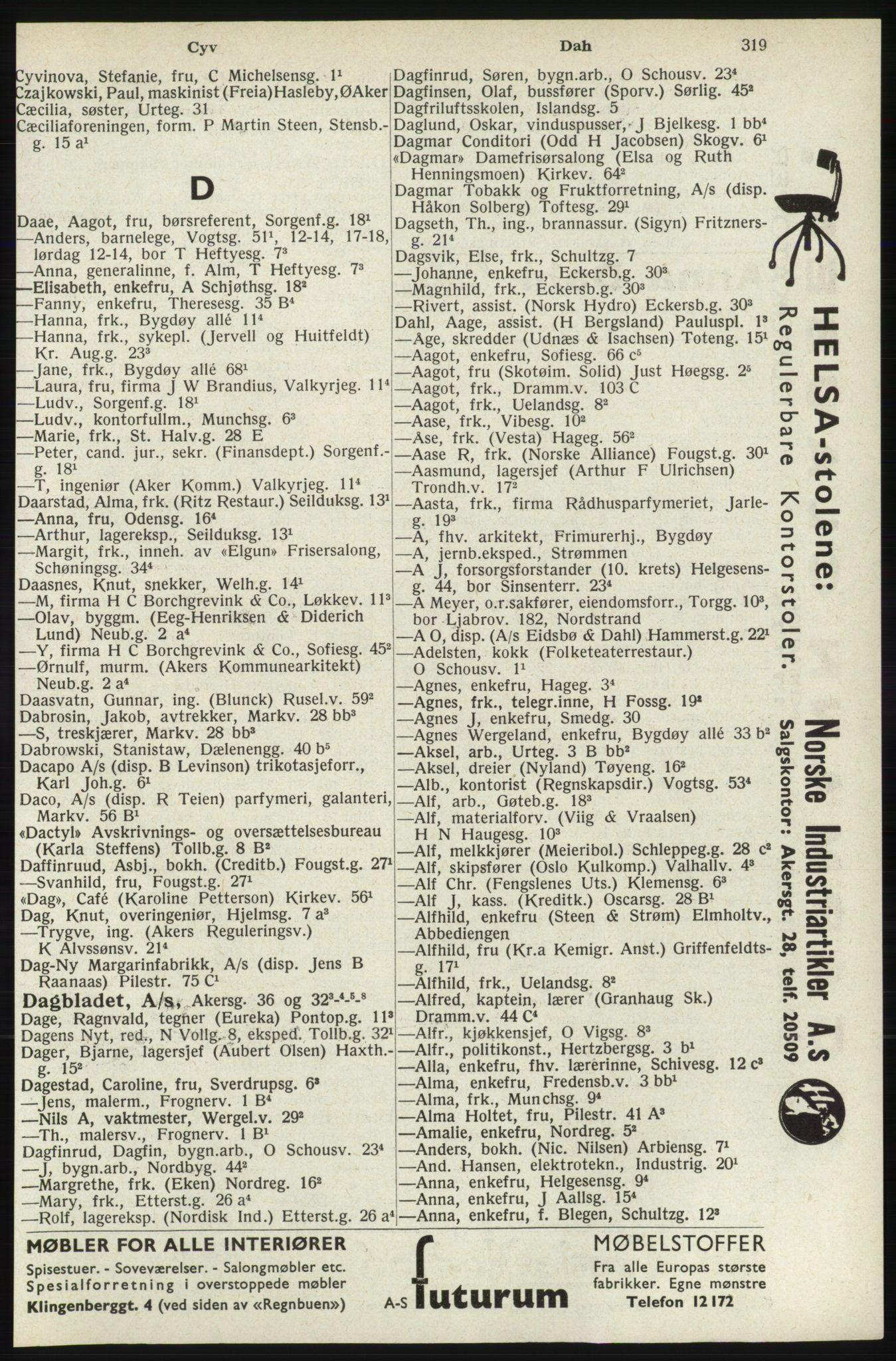 RA, Oslo adressebok (publikasjon)*, 1940, s. 319