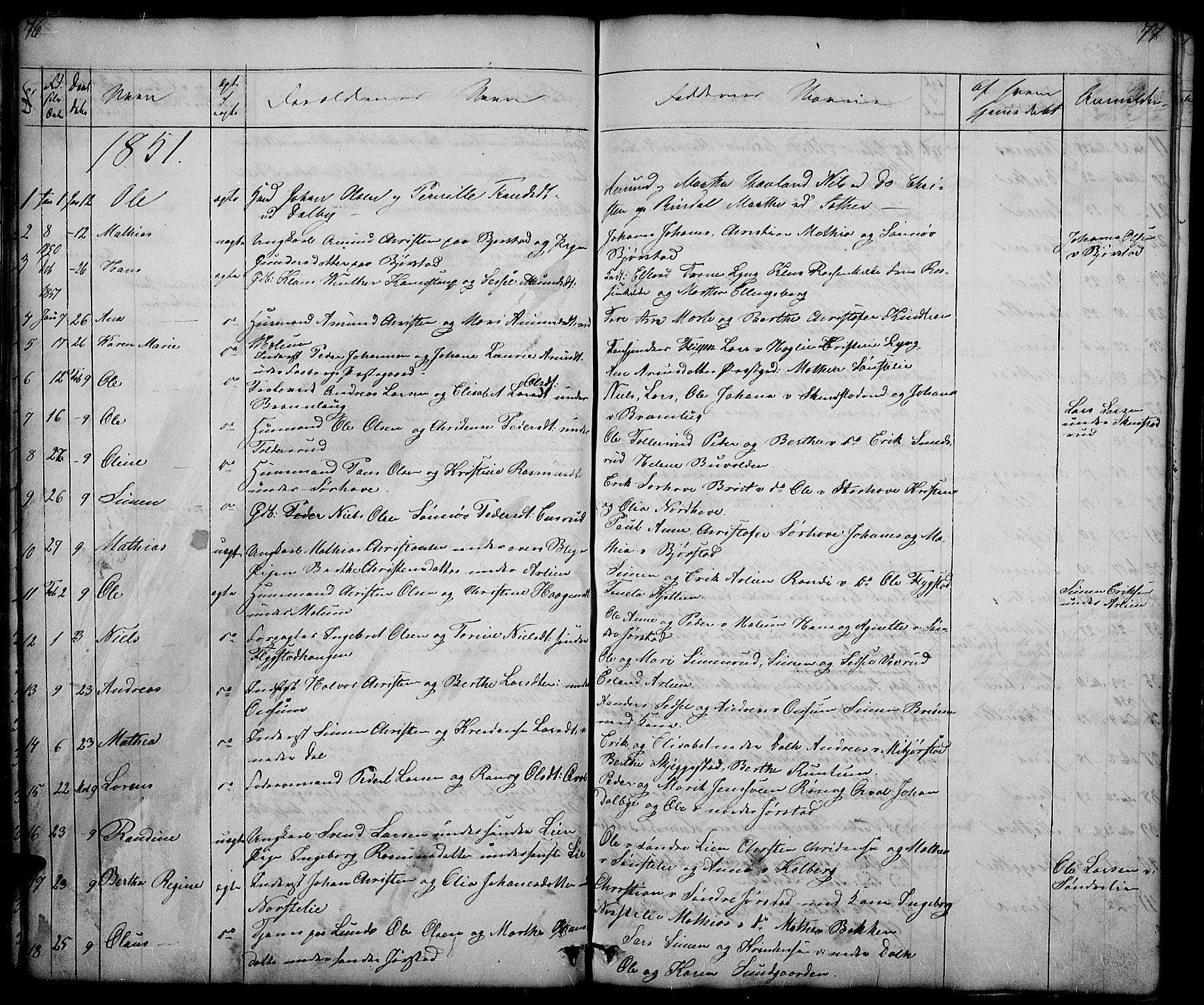 SAH, Fåberg prestekontor, Klokkerbok nr. 5, 1837-1864, s. 76-77