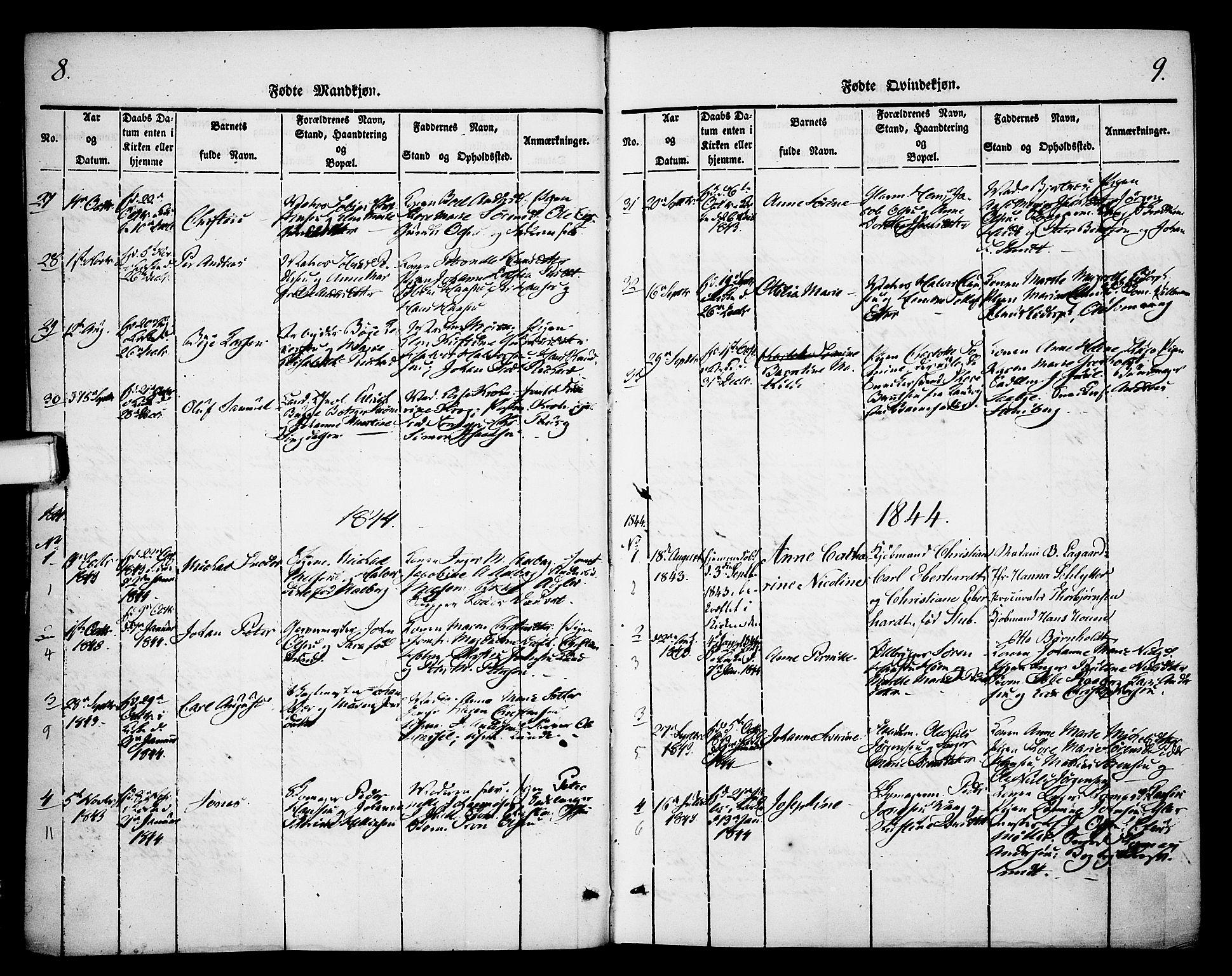 SAKO, Skien kirkebøker, F/Fa/L0006b: Ministerialbok nr. 6B, 1843-1846, s. 8-9