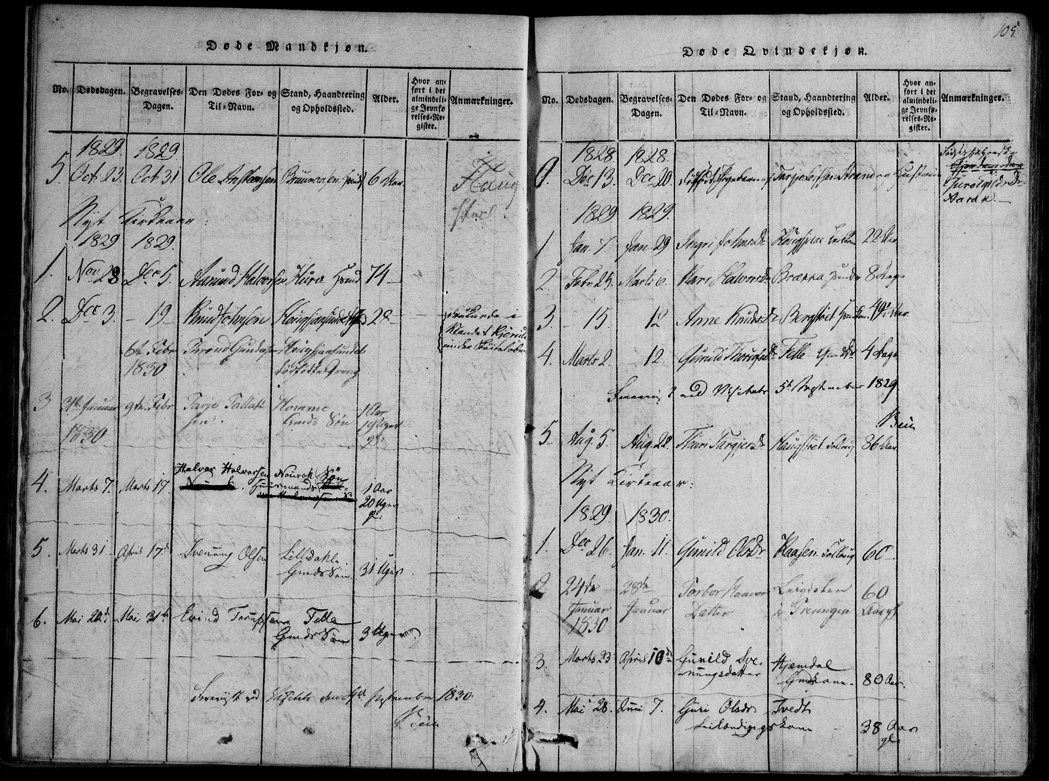 SAKO, Nissedal kirkebøker, F/Fb/L0001: Ministerialbok nr. II 1, 1814-1845, s. 105