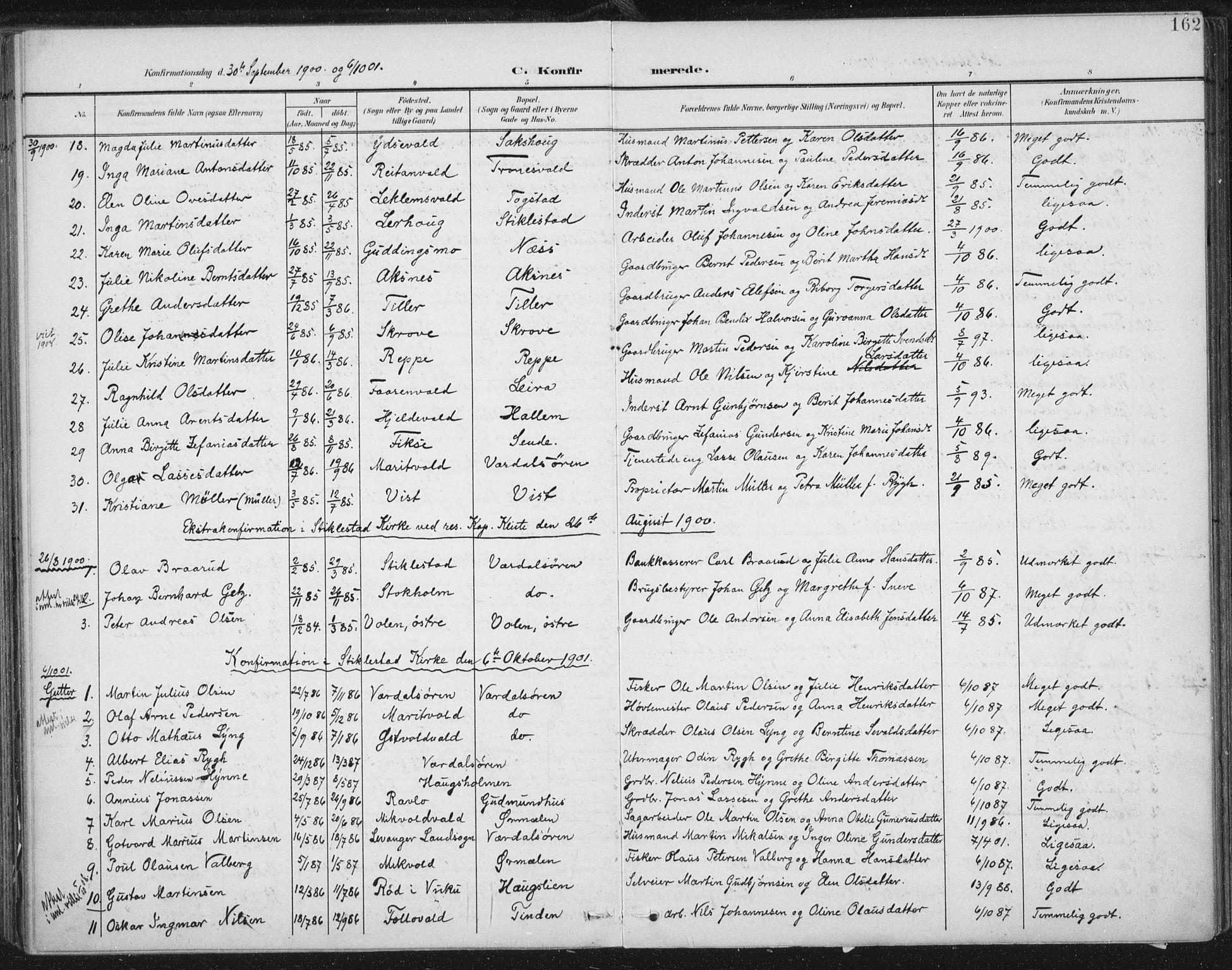SAT, Ministerialprotokoller, klokkerbøker og fødselsregistre - Nord-Trøndelag, 723/L0246: Ministerialbok nr. 723A15, 1900-1917, s. 162