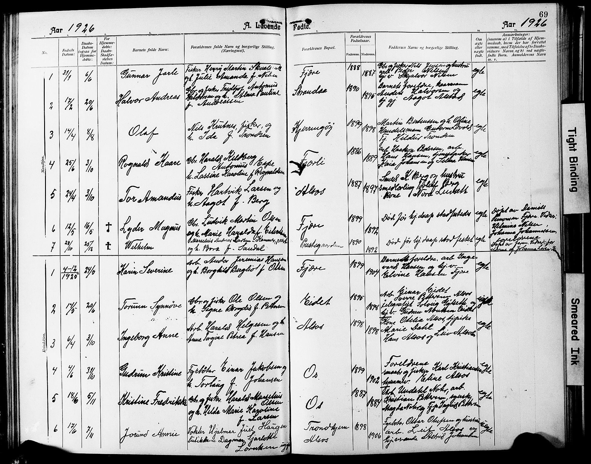 SAT, Ministerialprotokoller, klokkerbøker og fødselsregistre - Nordland, 803/L0077: Klokkerbok nr. 803C04, 1897-1930, s. 69