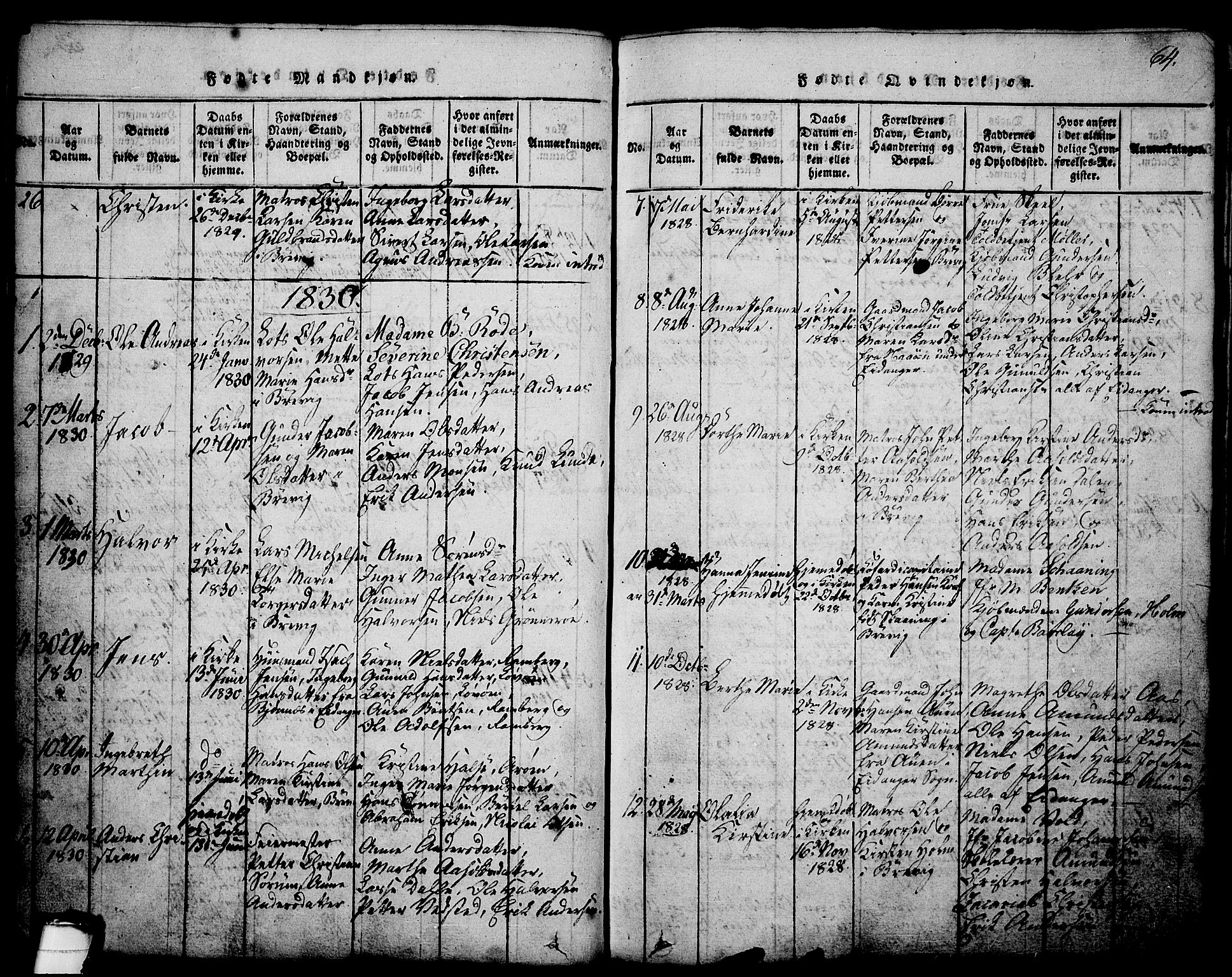 SAKO, Brevik kirkebøker, G/Ga/L0001: Klokkerbok nr. 1, 1814-1845, s. 64
