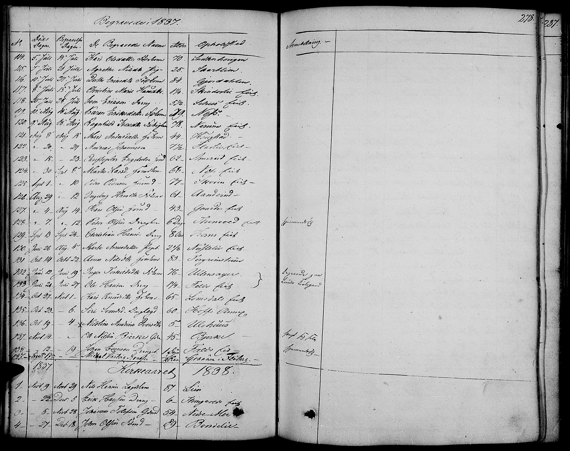 SAH, Land prestekontor, Ministerialbok nr. 8, 1830-1846, s. 278