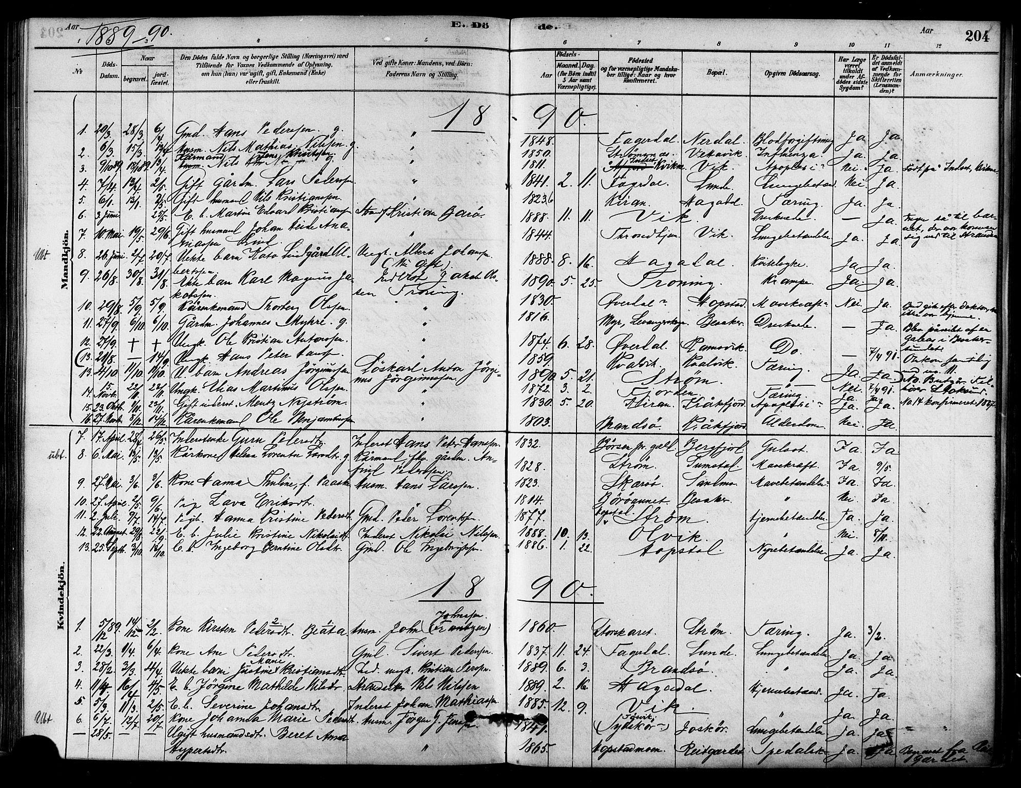 SAT, Ministerialprotokoller, klokkerbøker og fødselsregistre - Sør-Trøndelag, 657/L0707: Ministerialbok nr. 657A08, 1879-1893, s. 204