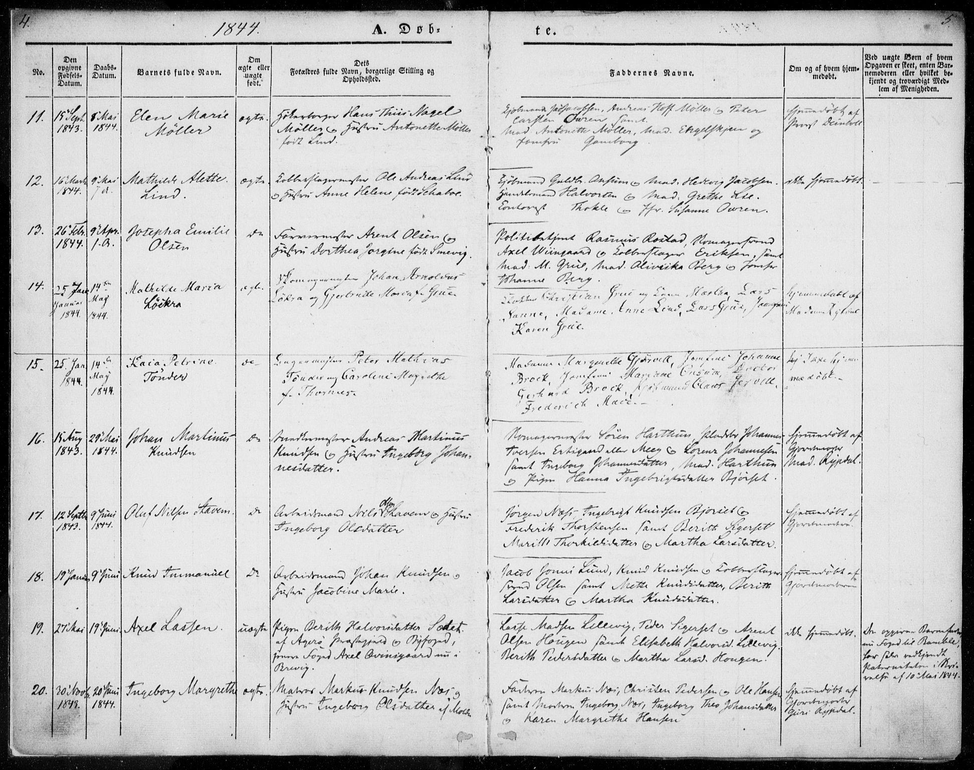 SAT, Ministerialprotokoller, klokkerbøker og fødselsregistre - Møre og Romsdal, 558/L0689: Ministerialbok nr. 558A03, 1843-1872, s. 4-5