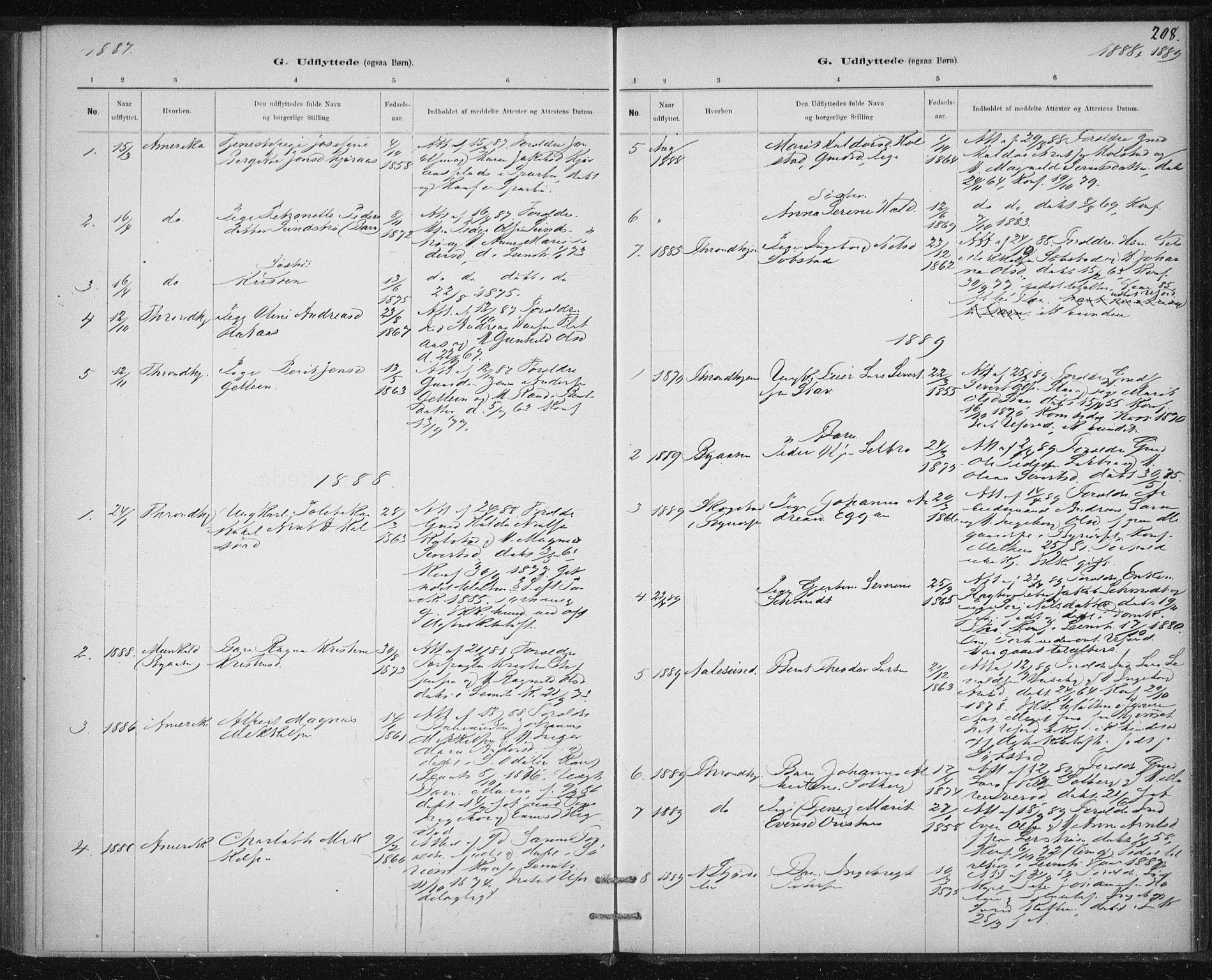 SAT, Ministerialprotokoller, klokkerbøker og fødselsregistre - Sør-Trøndelag, 613/L0392: Ministerialbok nr. 613A01, 1887-1906, s. 208