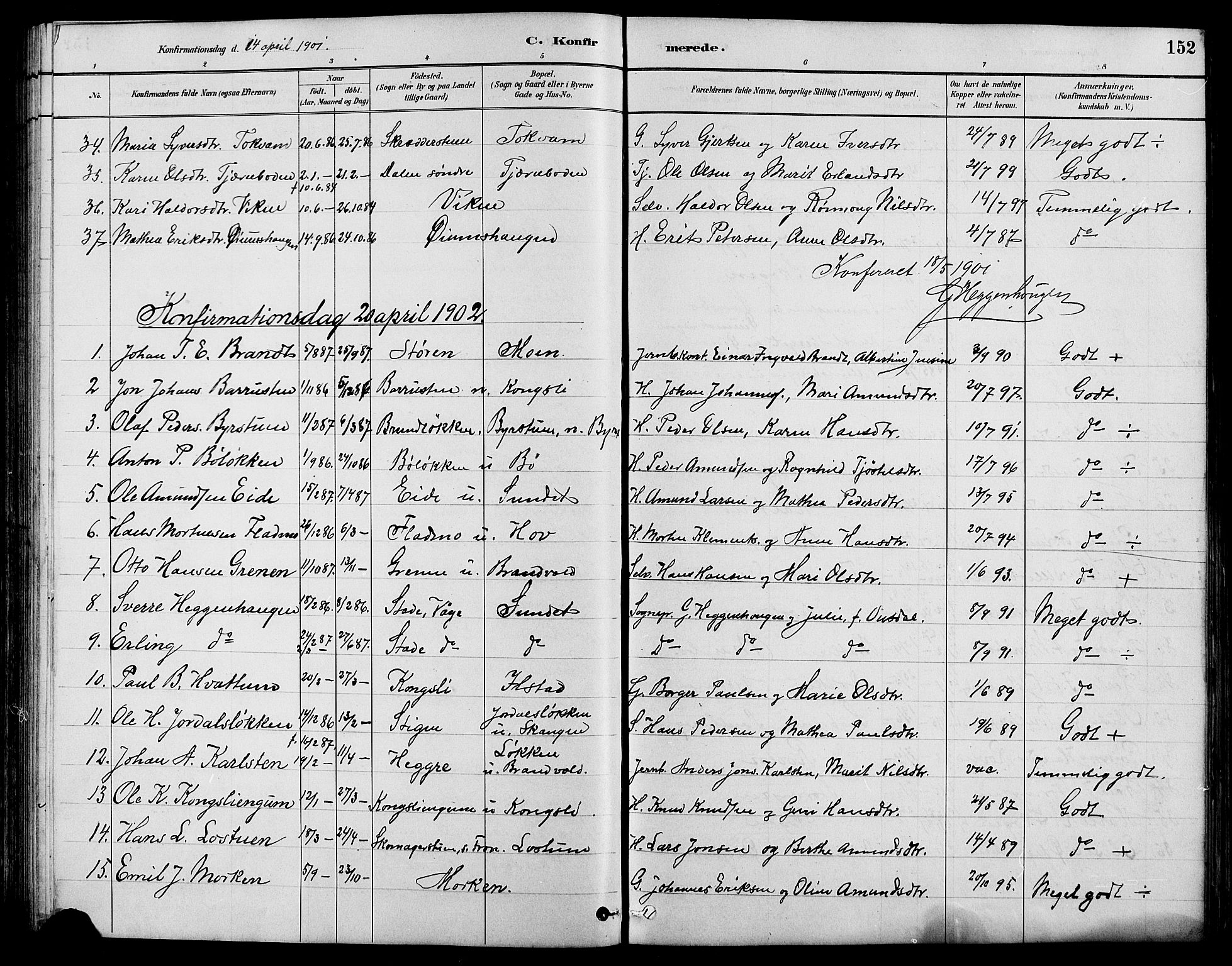 SAH, Nord-Fron prestekontor, Klokkerbok nr. 4, 1884-1914, s. 152