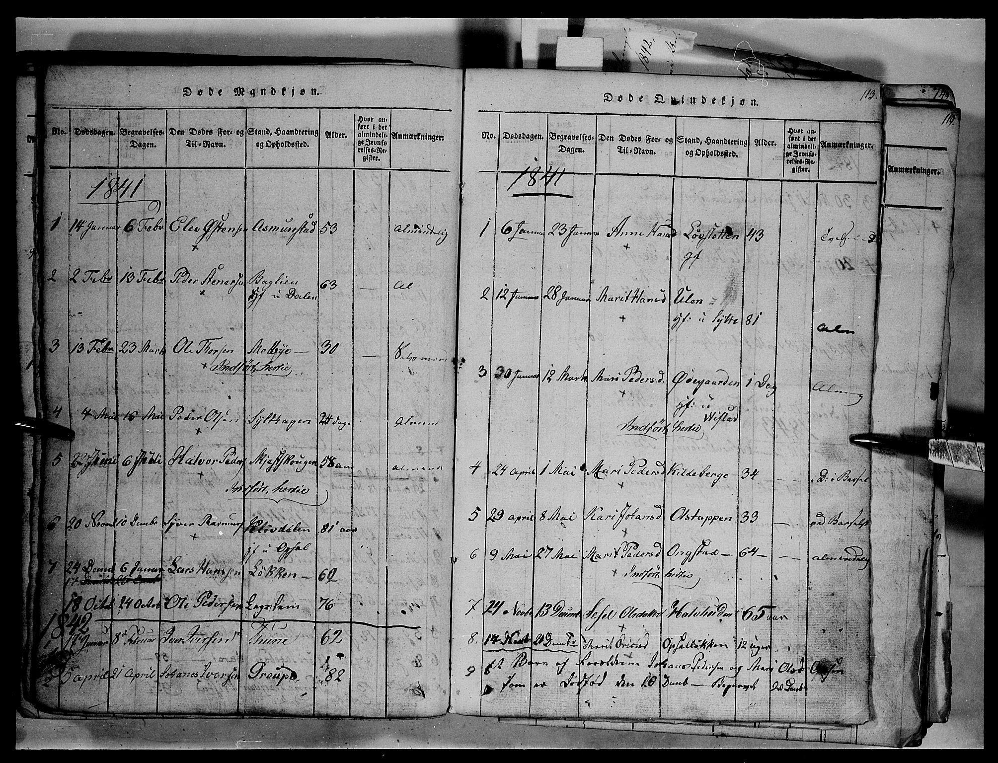 SAH, Fron prestekontor, H/Ha/Hab/L0003: Klokkerbok nr. 3, 1816-1850, s. 113