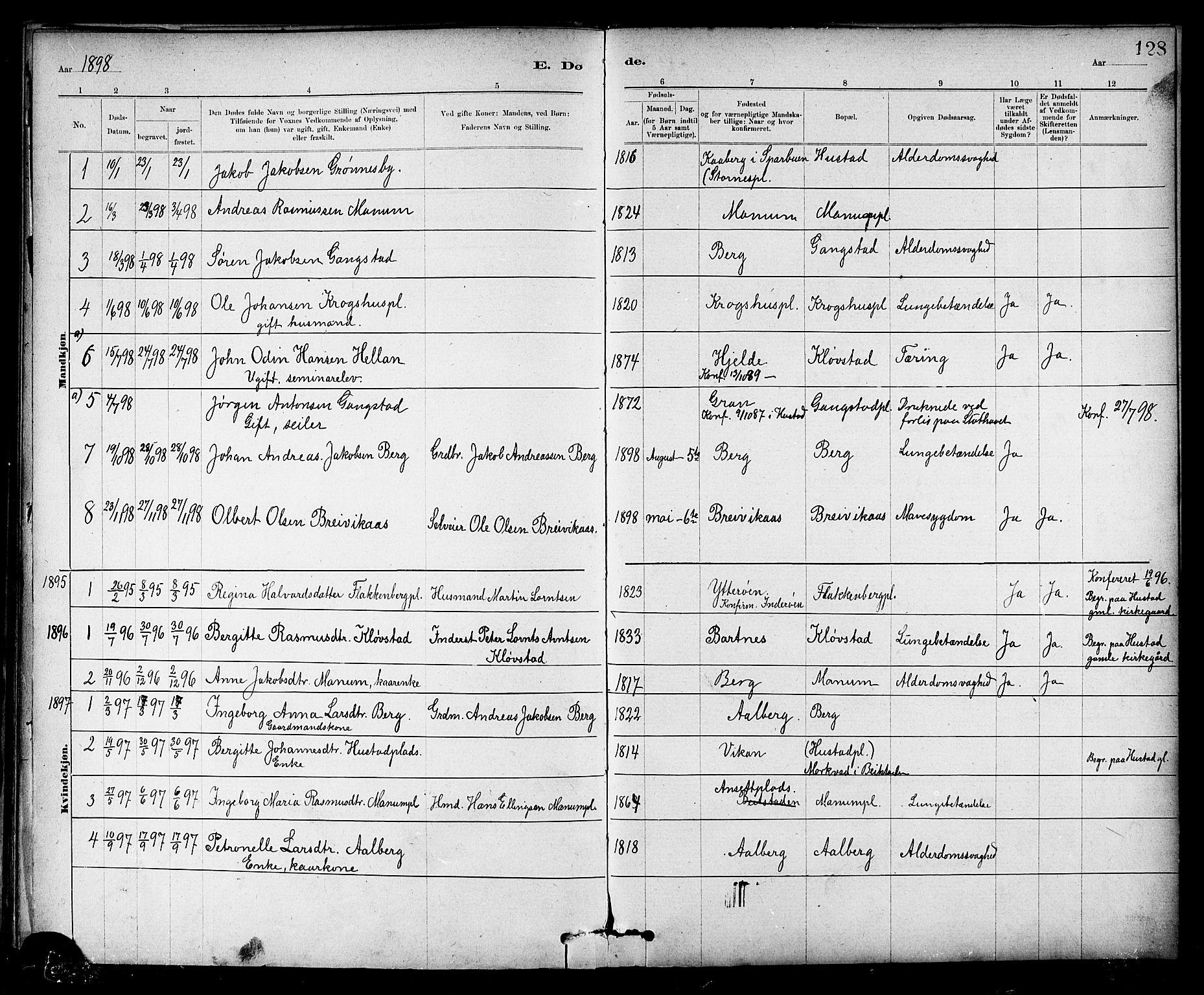 SAT, Ministerialprotokoller, klokkerbøker og fødselsregistre - Nord-Trøndelag, 732/L0318: Klokkerbok nr. 732C02, 1881-1911, s. 128