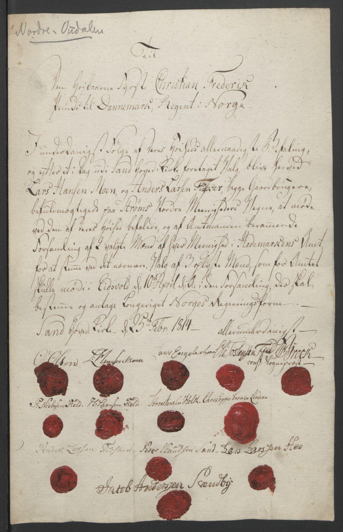RA, Statsrådssekretariatet, D/Db/L0007: Fullmakter for Eidsvollsrepresentantene i 1814. , 1814, s. 230