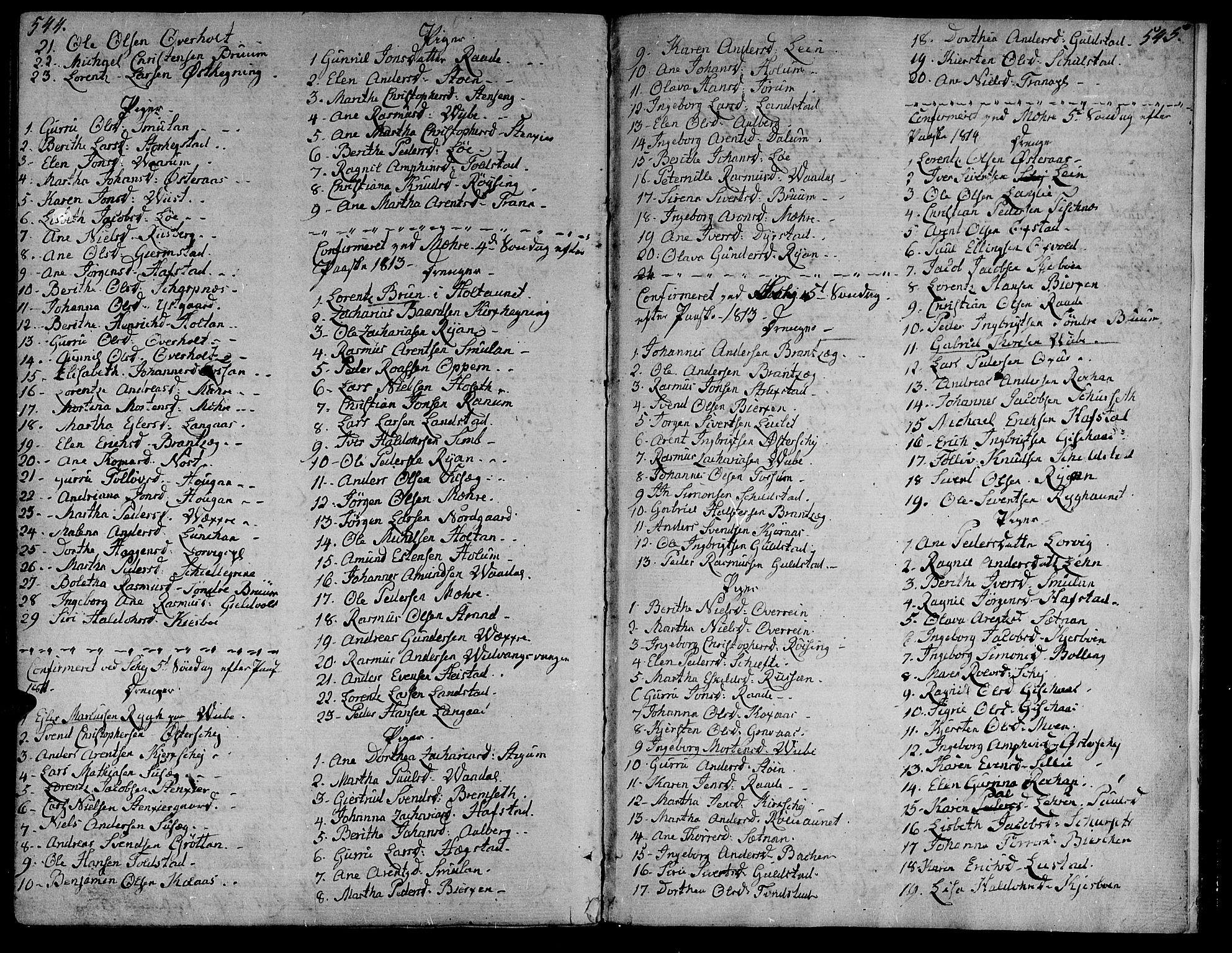 SAT, Ministerialprotokoller, klokkerbøker og fødselsregistre - Nord-Trøndelag, 735/L0332: Ministerialbok nr. 735A03, 1795-1816, s. 544-545