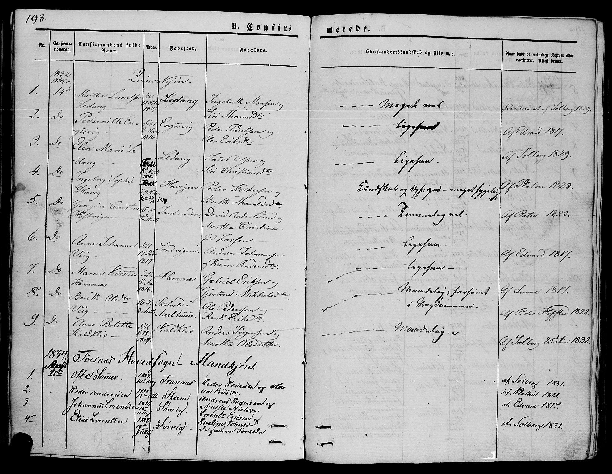 SAT, Ministerialprotokoller, klokkerbøker og fødselsregistre - Nord-Trøndelag, 773/L0614: Ministerialbok nr. 773A05, 1831-1856, s. 198