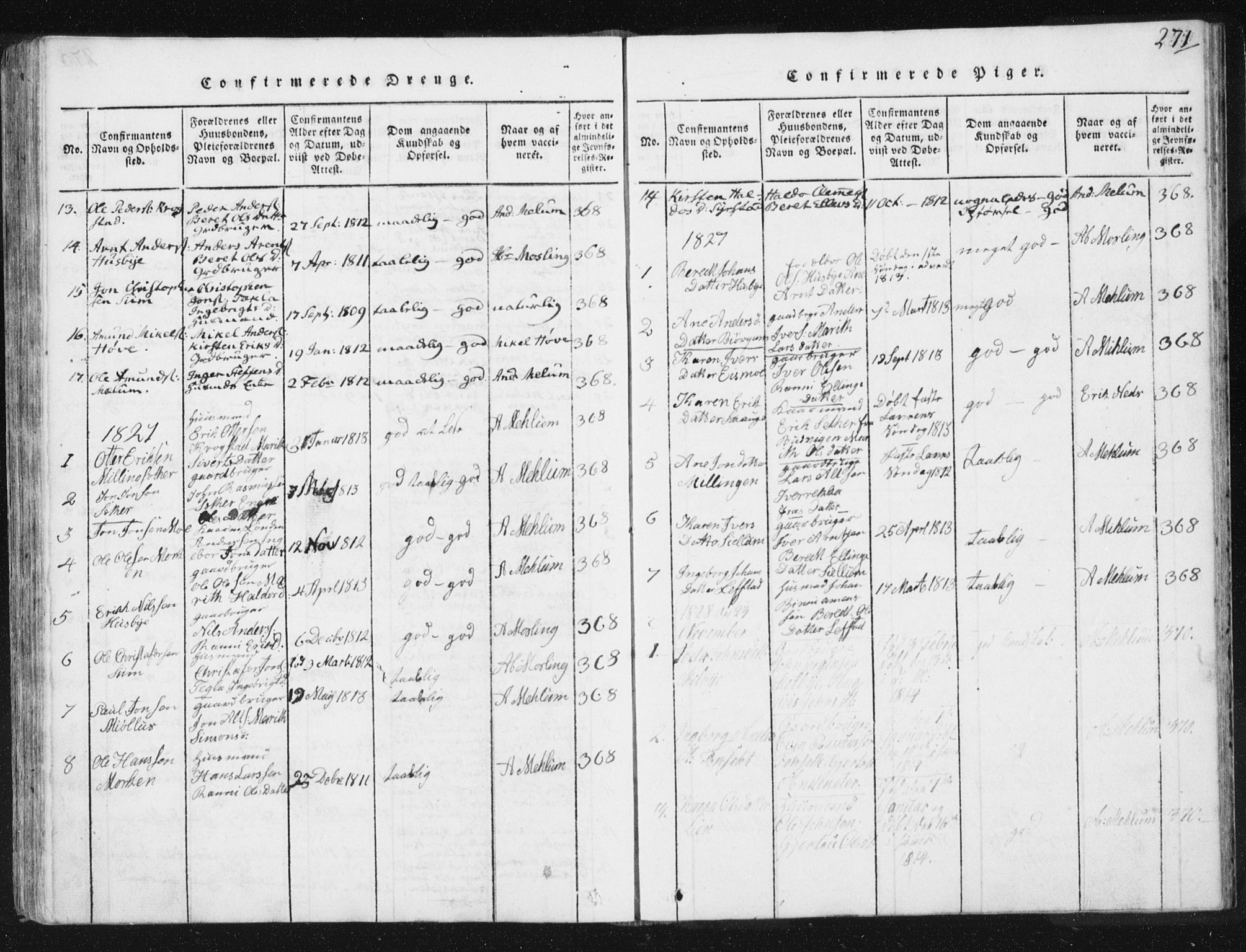 SAT, Ministerialprotokoller, klokkerbøker og fødselsregistre - Sør-Trøndelag, 665/L0770: Ministerialbok nr. 665A05, 1817-1829, s. 271