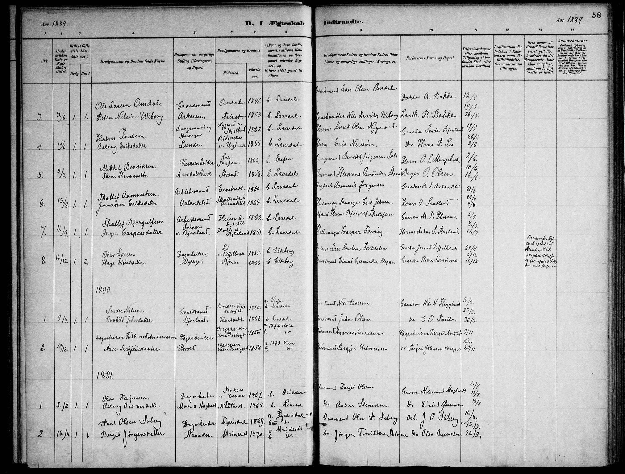 SAKO, Lårdal kirkebøker, F/Fa/L0007: Ministerialbok nr. I 7, 1887-1906, s. 58