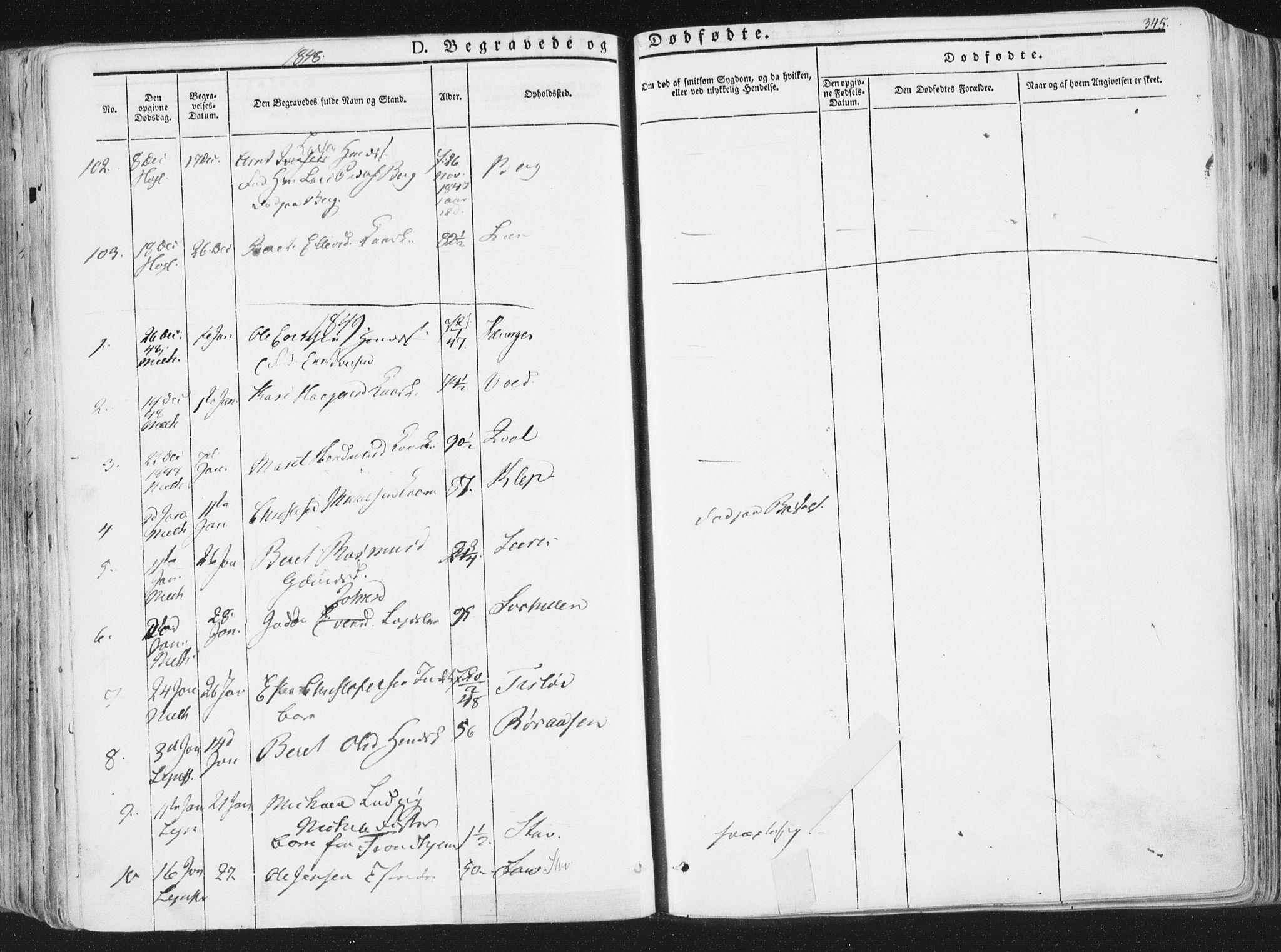 SAT, Ministerialprotokoller, klokkerbøker og fødselsregistre - Sør-Trøndelag, 691/L1074: Ministerialbok nr. 691A06, 1842-1852, s. 345
