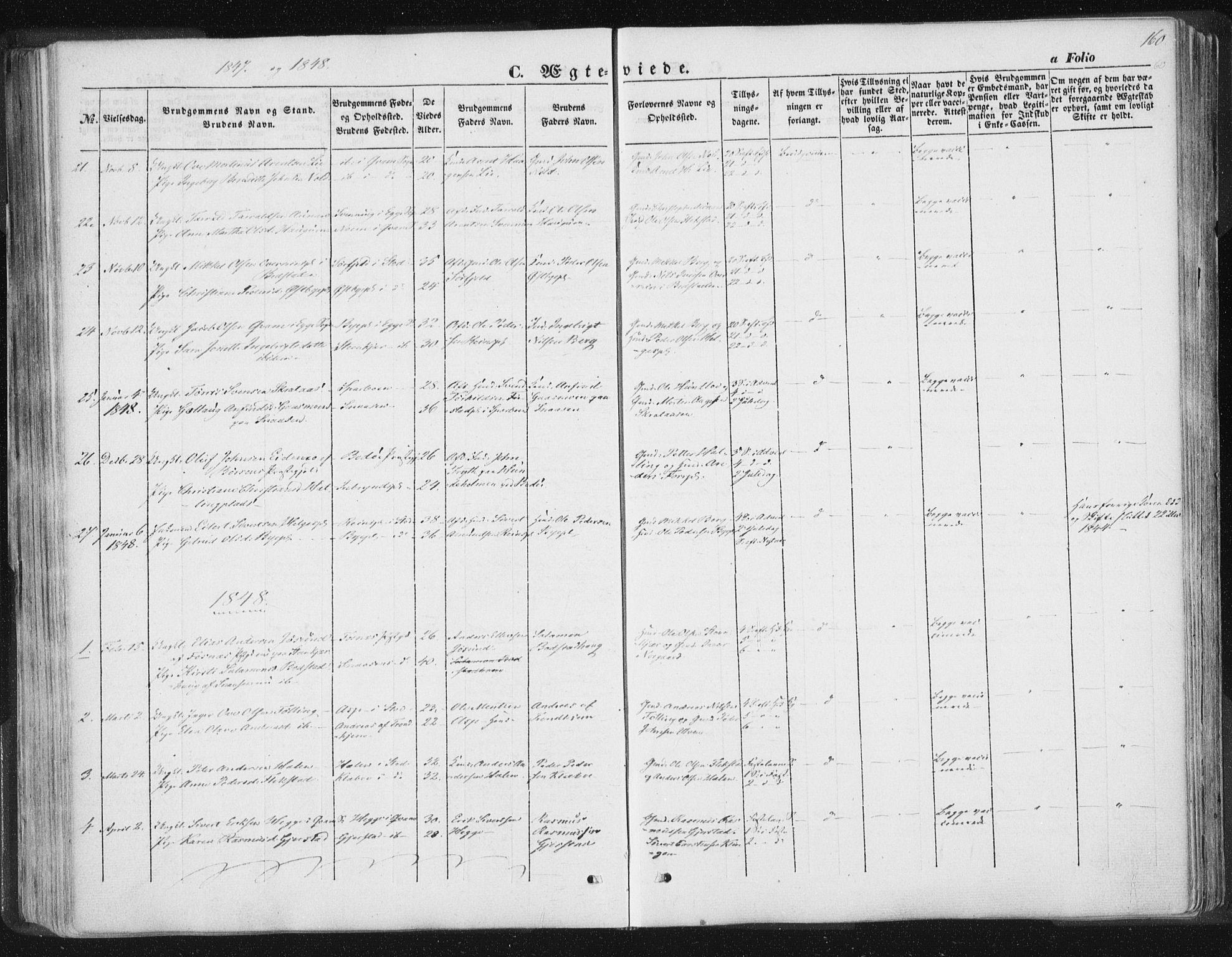 SAT, Ministerialprotokoller, klokkerbøker og fødselsregistre - Nord-Trøndelag, 746/L0446: Ministerialbok nr. 746A05, 1846-1859, s. 160